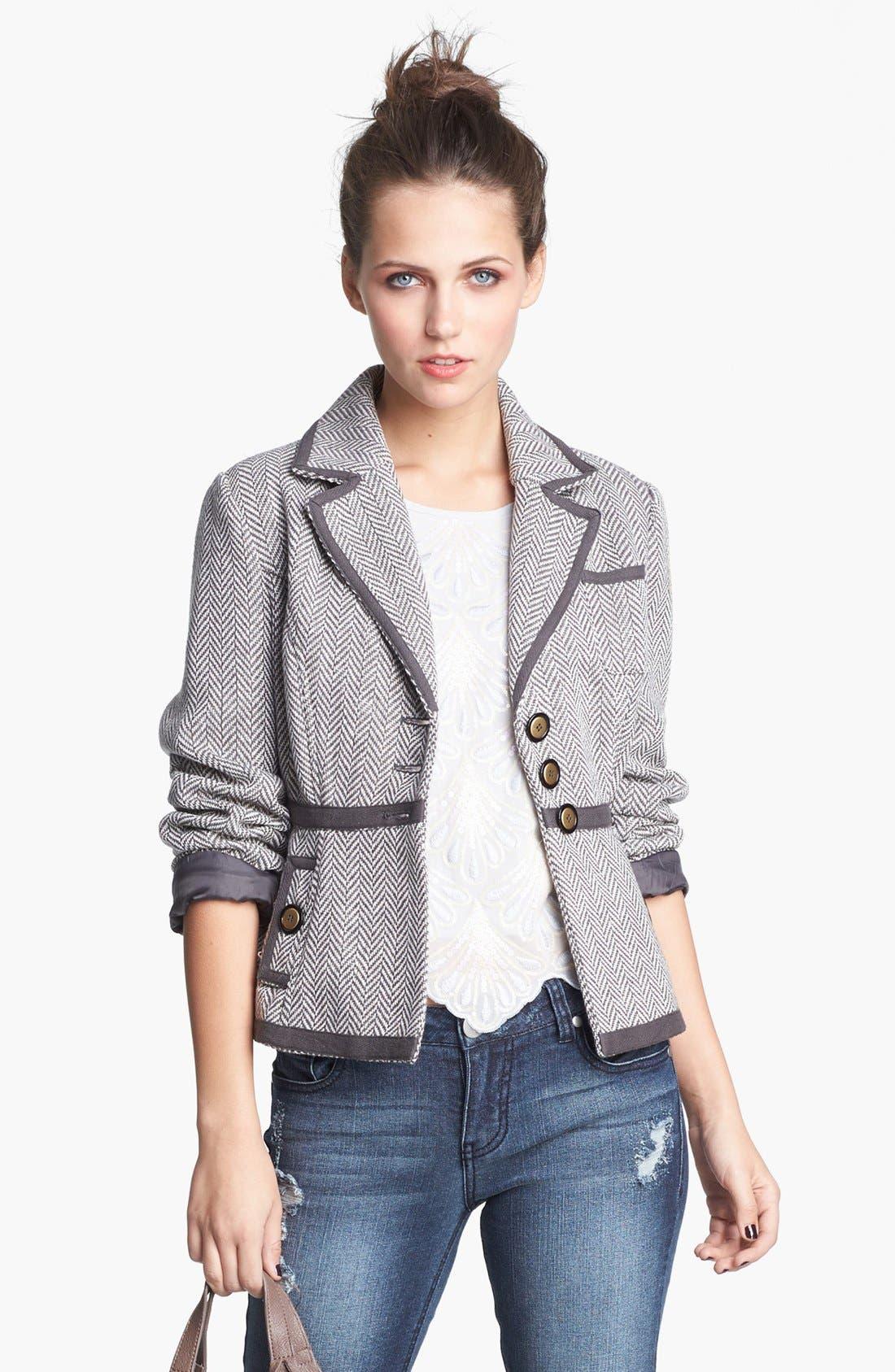 Main Image - Tulle Herringbone Contrast Trim Jacket (Juniors) (Online Only)
