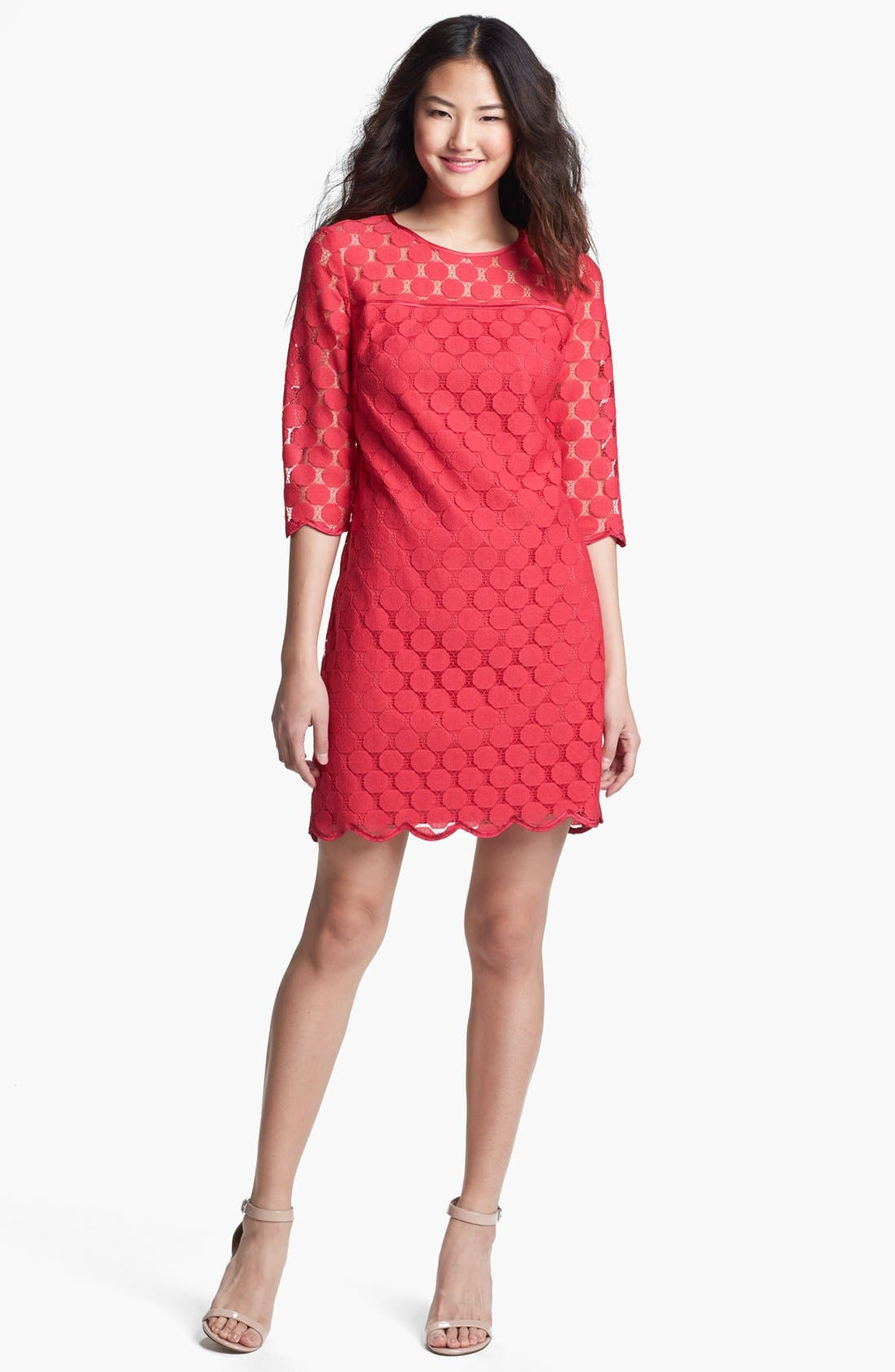 Alternate Image 1 Selected - Adrianna Papell Illusion Yoke Lace Sheath Dress