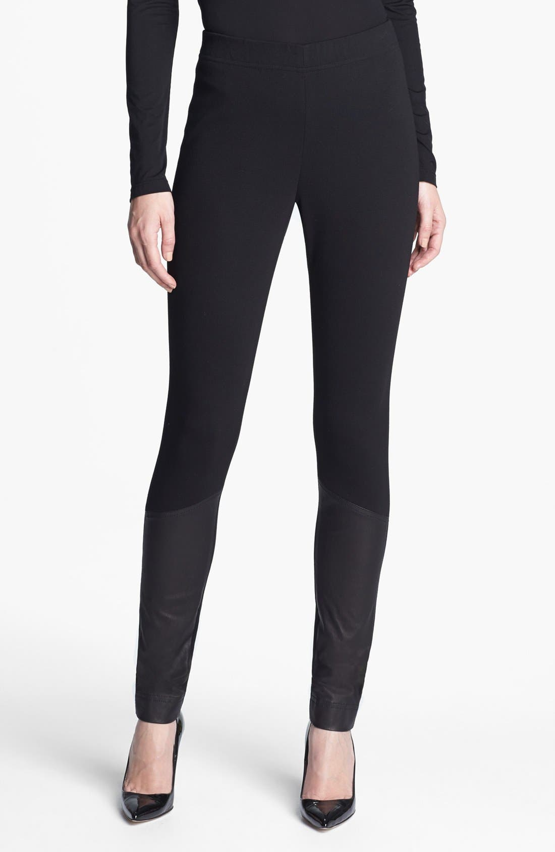 Main Image - St. John Collection Leather Accent Ponte Knit Leggings