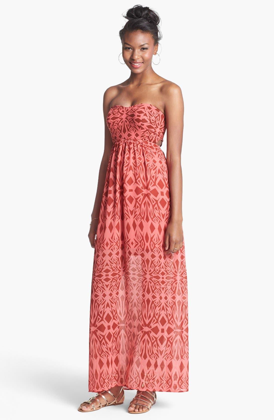 Main Image - Fire Side Cutout Strapless Print Maxi Dress (Juniors)