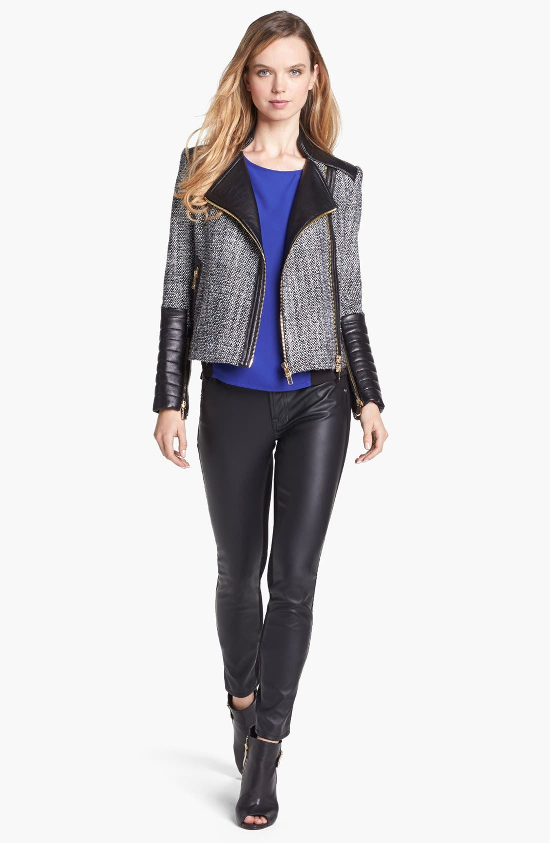 Alternate Image 4  - Vince Camuto Tweed & Faux Leather Moto Jacket