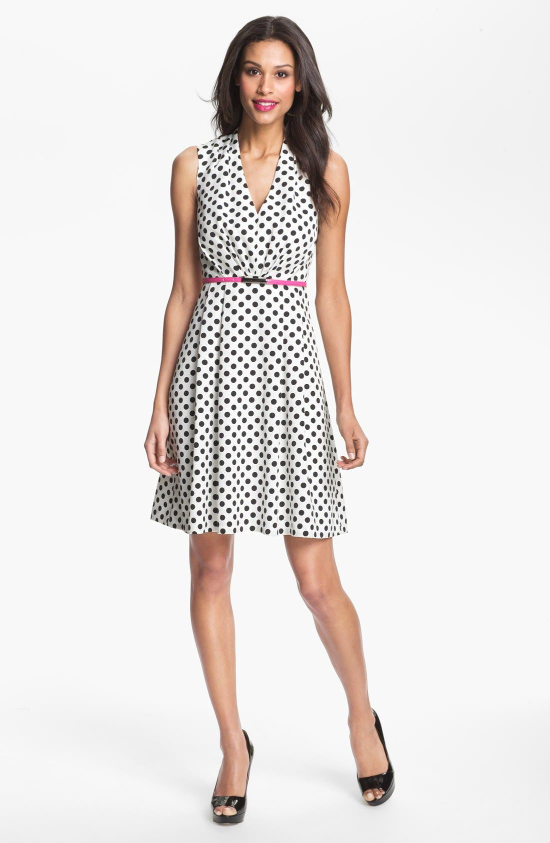 Main Image - Adrianna Papell Polka Dot Fit & Flare Dress (Petite)