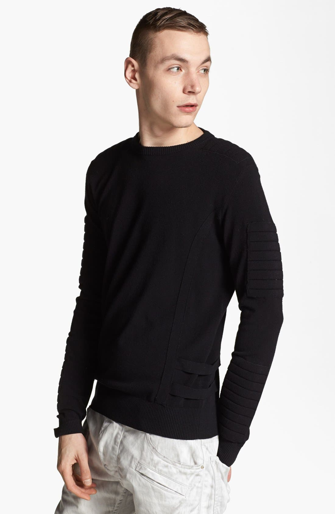 Main Image - Pierre Balmain Padded Crewneck Sweater (Online Only)