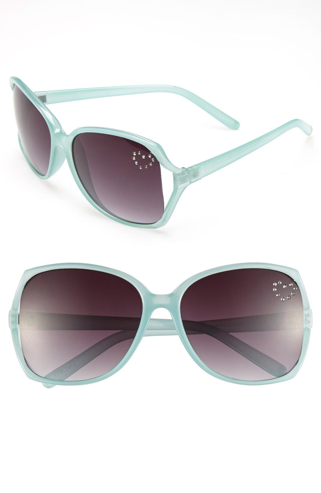 Alternate Image 1 Selected - Fantas Eyes Heart Crystals Sunglasses (Girls)