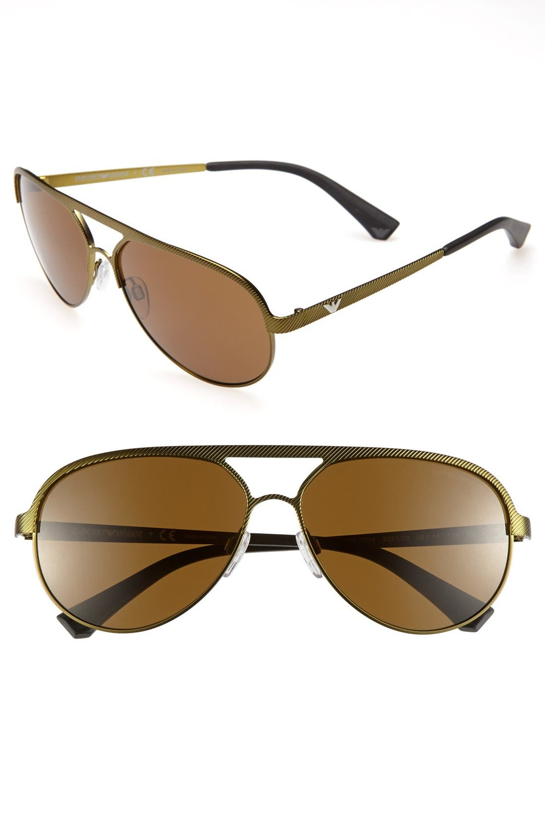 Alternate Image 1 Selected - Emporio Armani 59mm Aviator Sunglasses