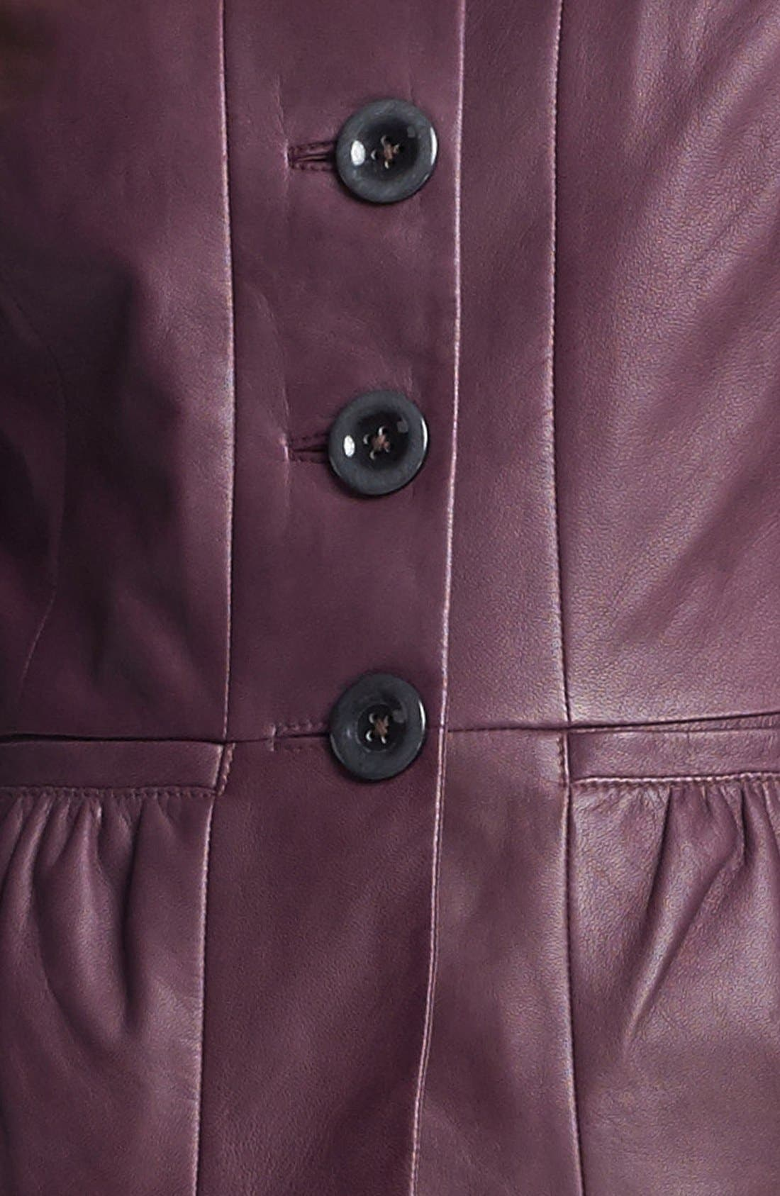 Alternate Image 3  - Classiques Entier® 'Lamb Moss' Collarless Leather Jacket