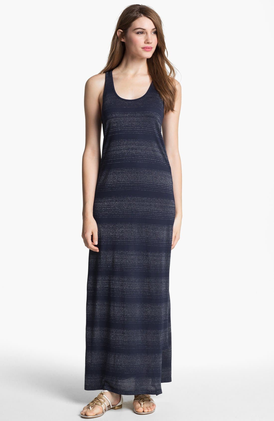 Alternate Image 1 Selected - Two by Vince Camuto Metallic Stripe Maxi Dress
