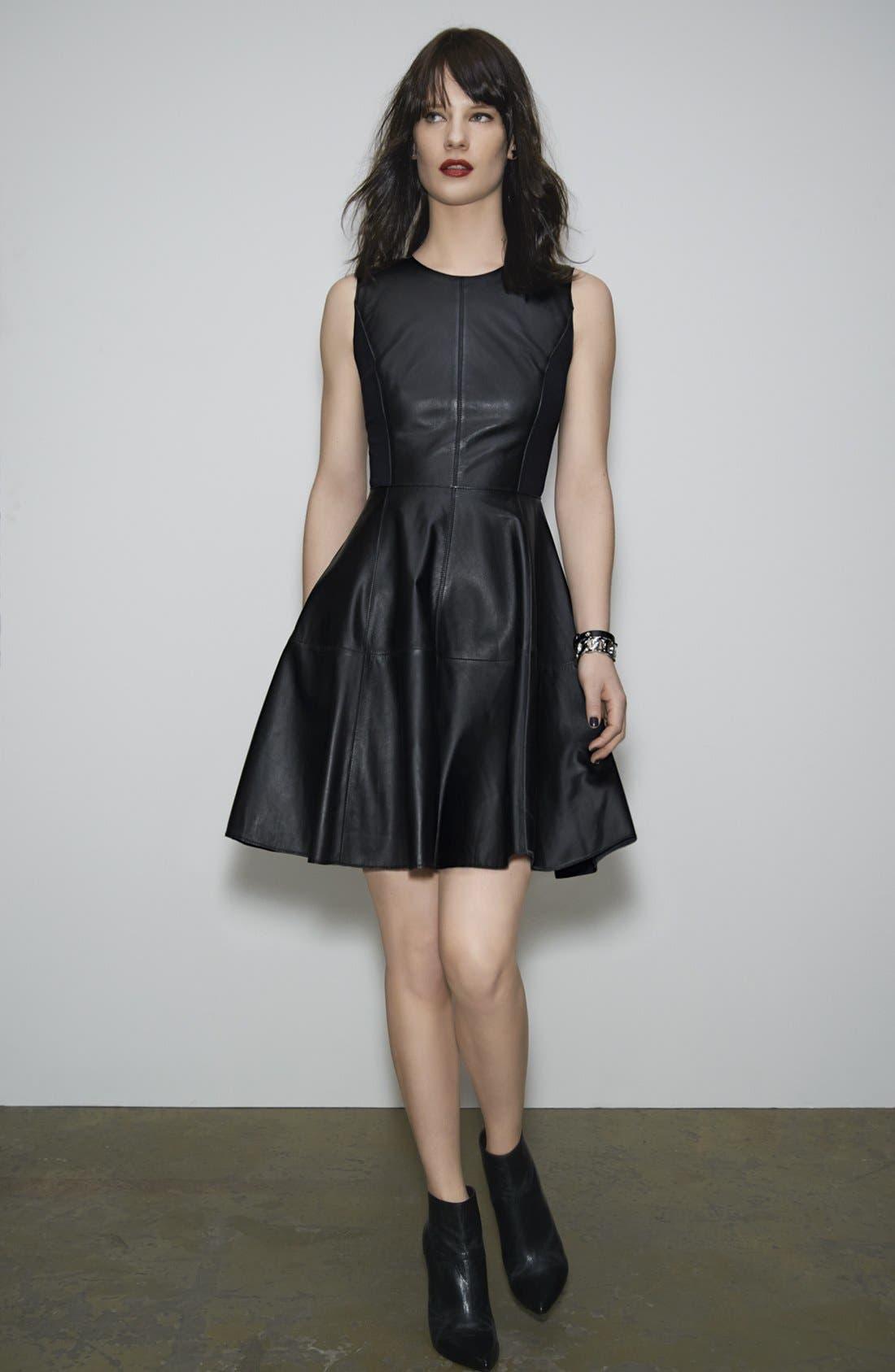 Alternate Image 5  - Halogen® Back Zip Leather & Ponte Dress
