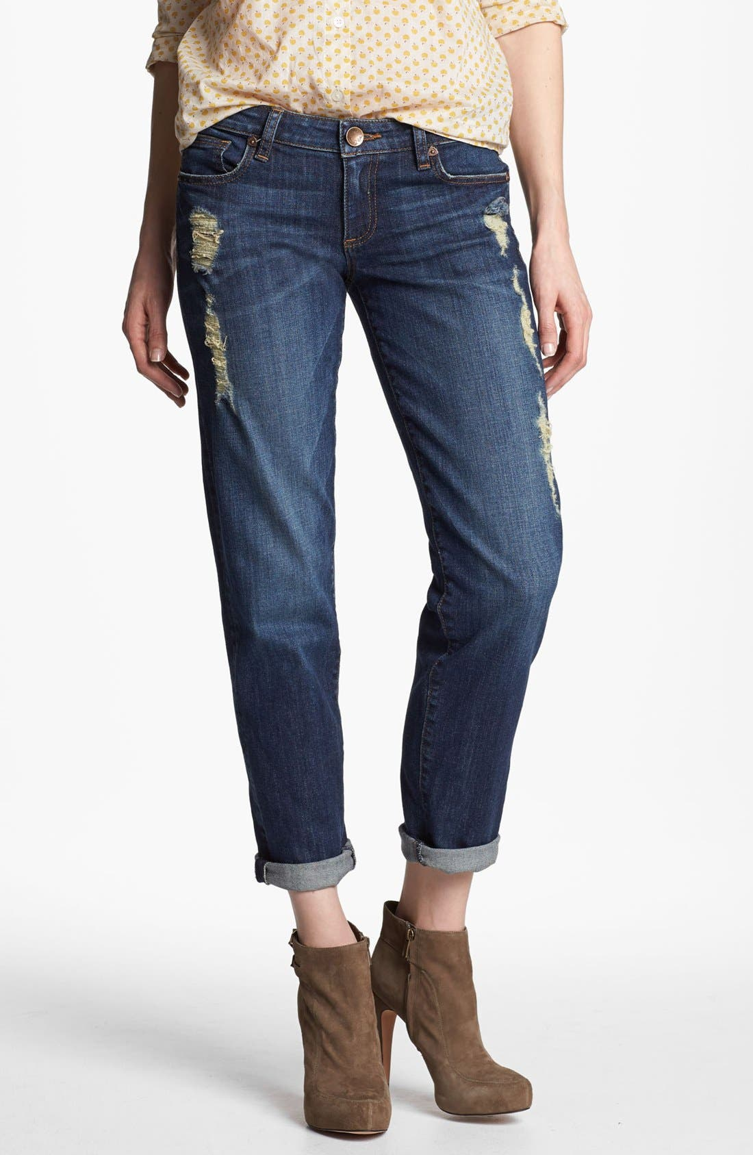 Main Image - KUT from the Kloth 'Catherine' Slim Boyfriend Jeans (Casual Dark Stone)
