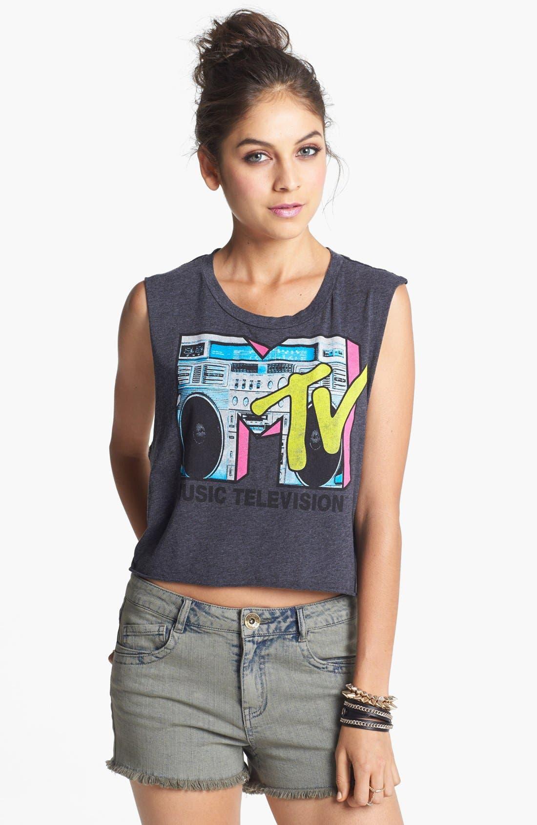 Alternate Image 1 Selected - Recycled Karma 'MTV' Crop Muscle Tank (Juniors)