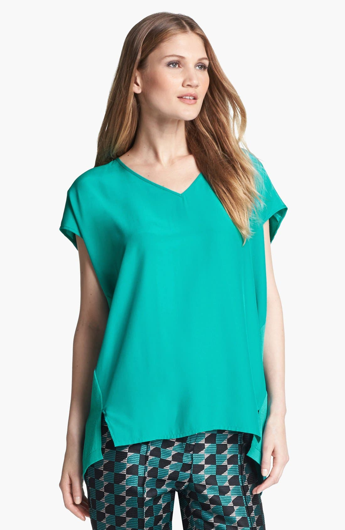 Main Image - Lafayette 148 New York V-Neck Mixed Media Top
