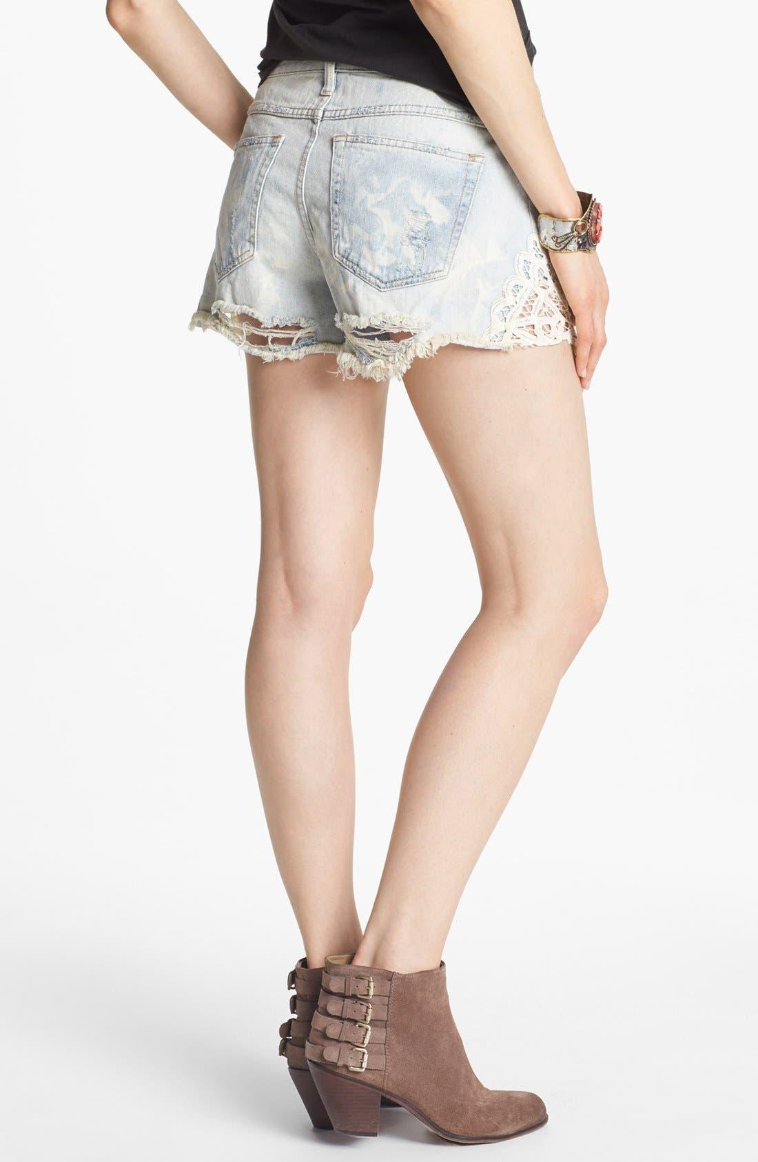 Alternate Image 2  - Free People Crochet Trim Cutoff Denim Shorts (White Cloud)