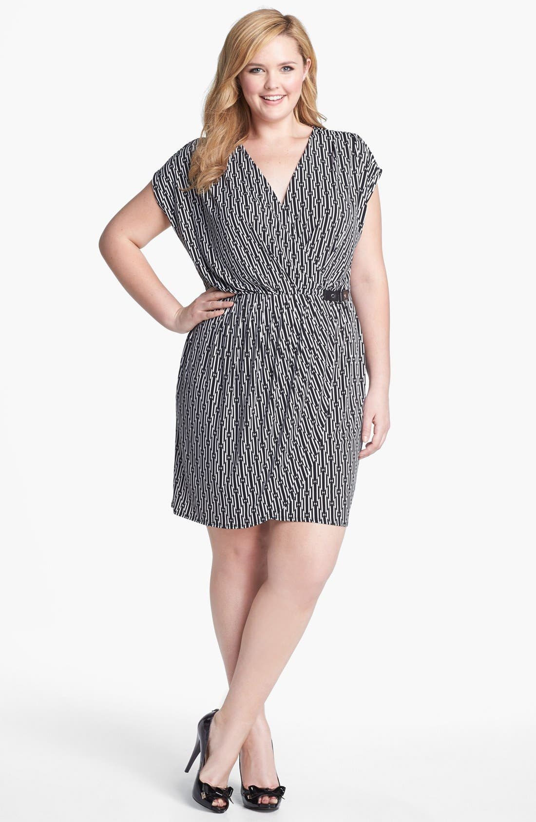 Main Image - MICHAEL Michael Kors Print Faux Wrap Dress (Plus Size)
