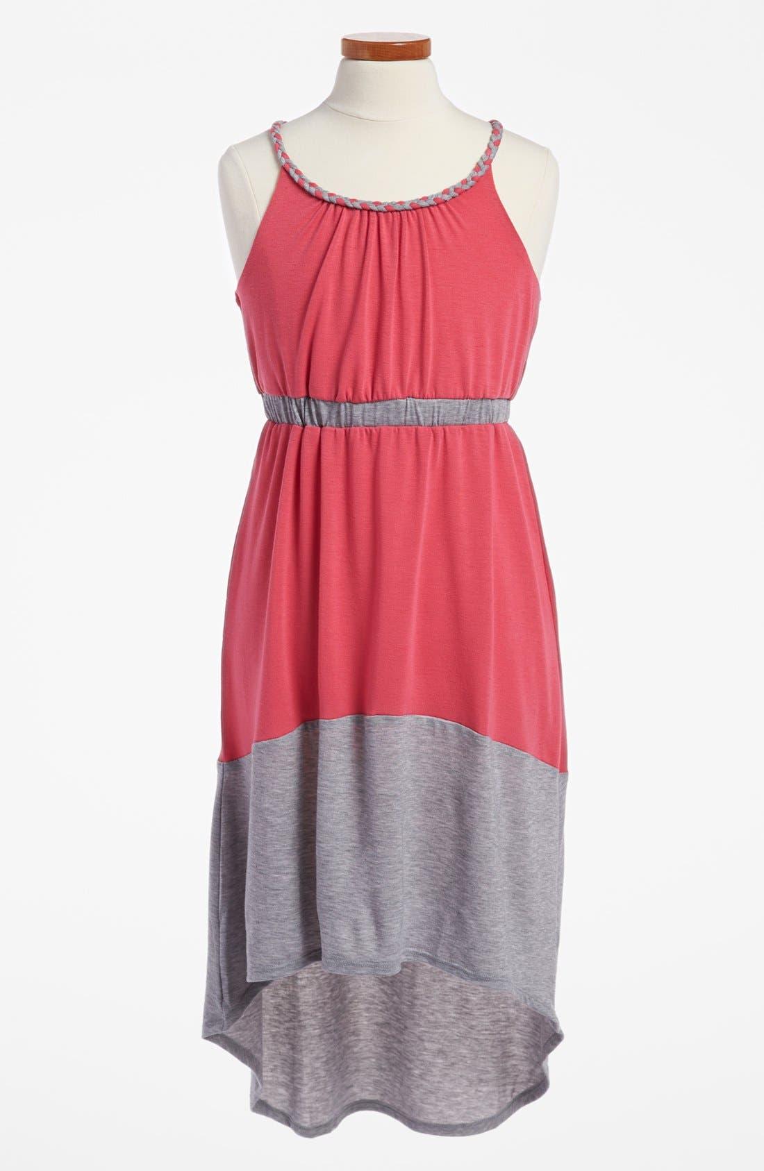 Main Image - Paper Doll Colorblock Maxi Dress (Little Girls & Big Girls)