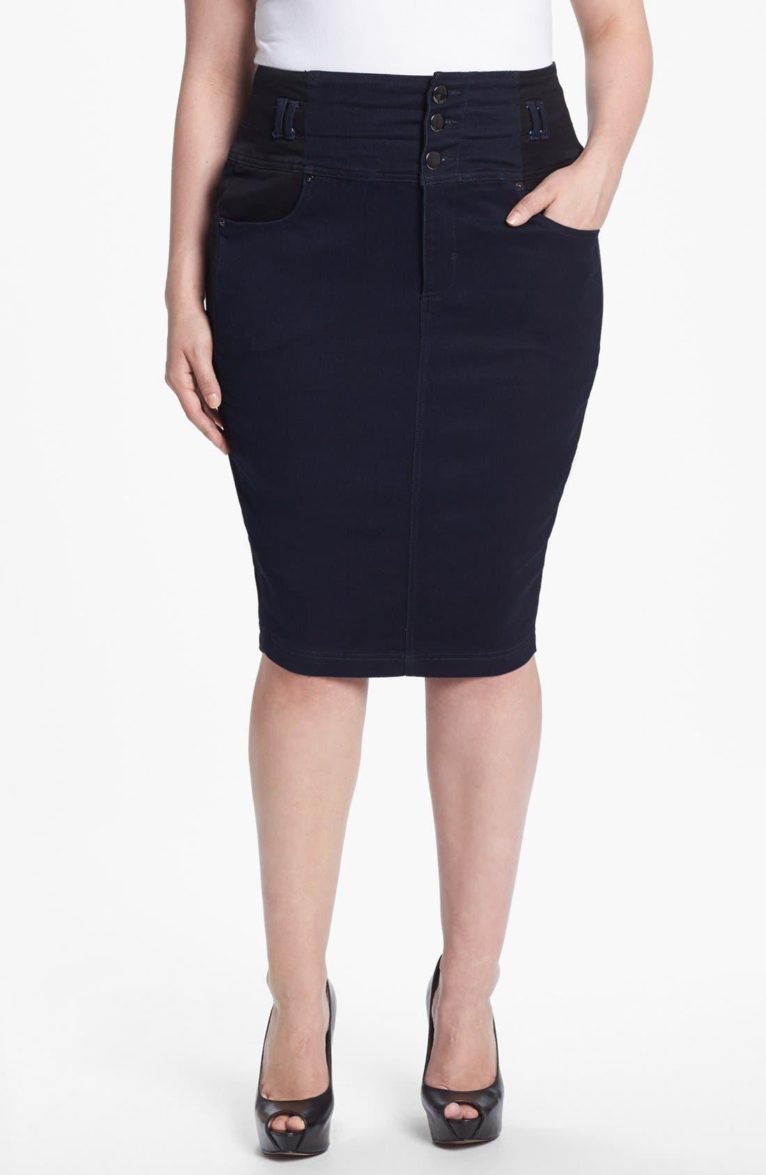 Main Image - Evans Colorblock Denim Pencil Skirt (Plus Size)