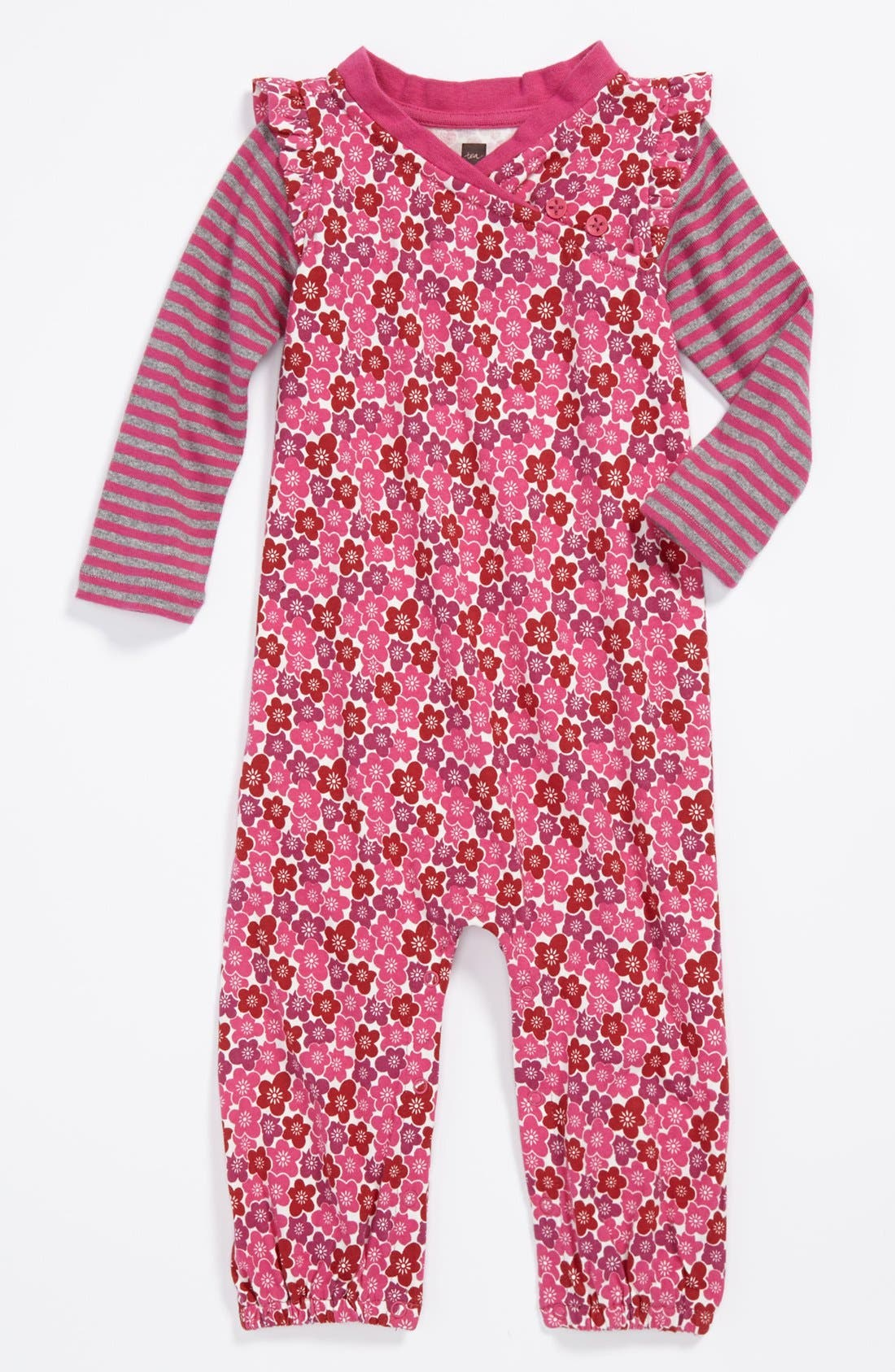 Alternate Image 1 Selected - Tea Collection 'Blossom' Coveralls (Baby Girls)