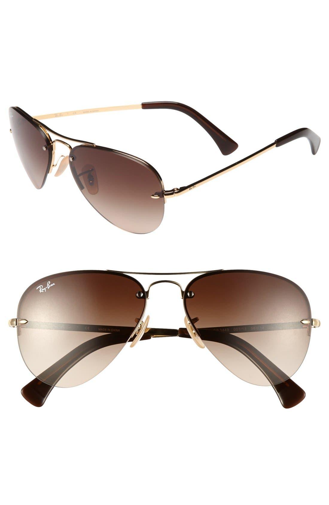 Alternate Image 1 Selected - Ray-Ban 56mm Rimless Aviator Sunglasses