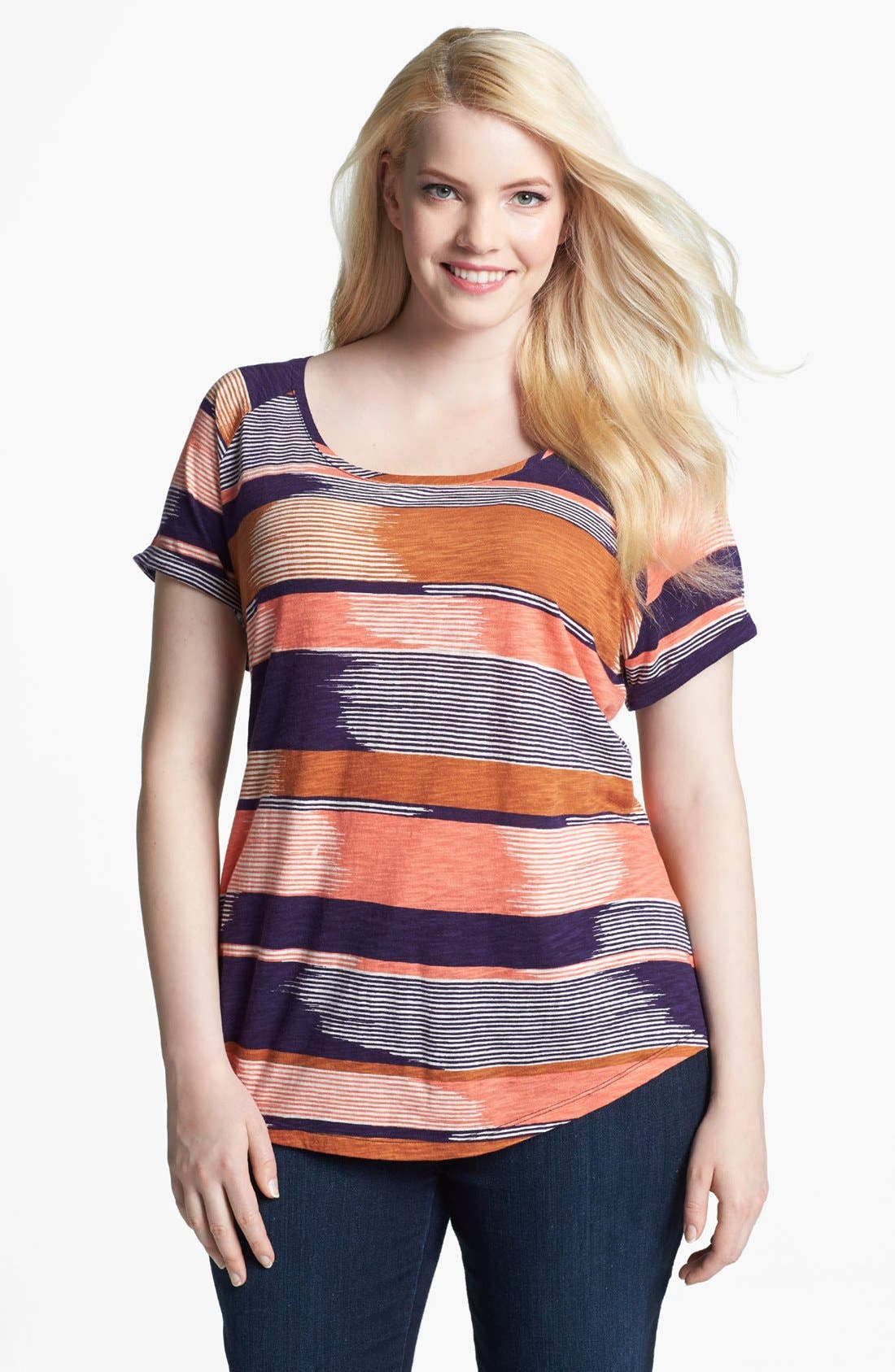 Alternate Image 1 Selected - Lucky Brand 'Alina' Stripe Tee (Plus)