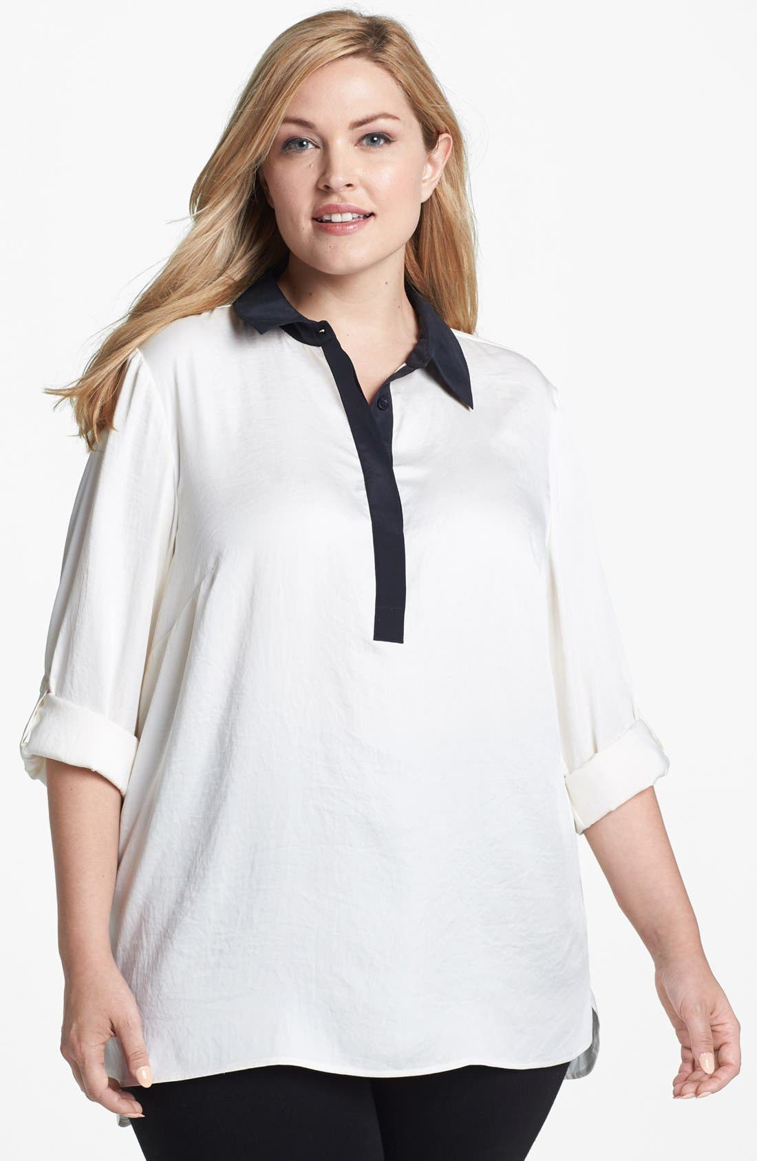 Alternate Image 1 Selected - MICHAEL Michael Kors Contrast Trim Tunic Shirt (Plus Size)