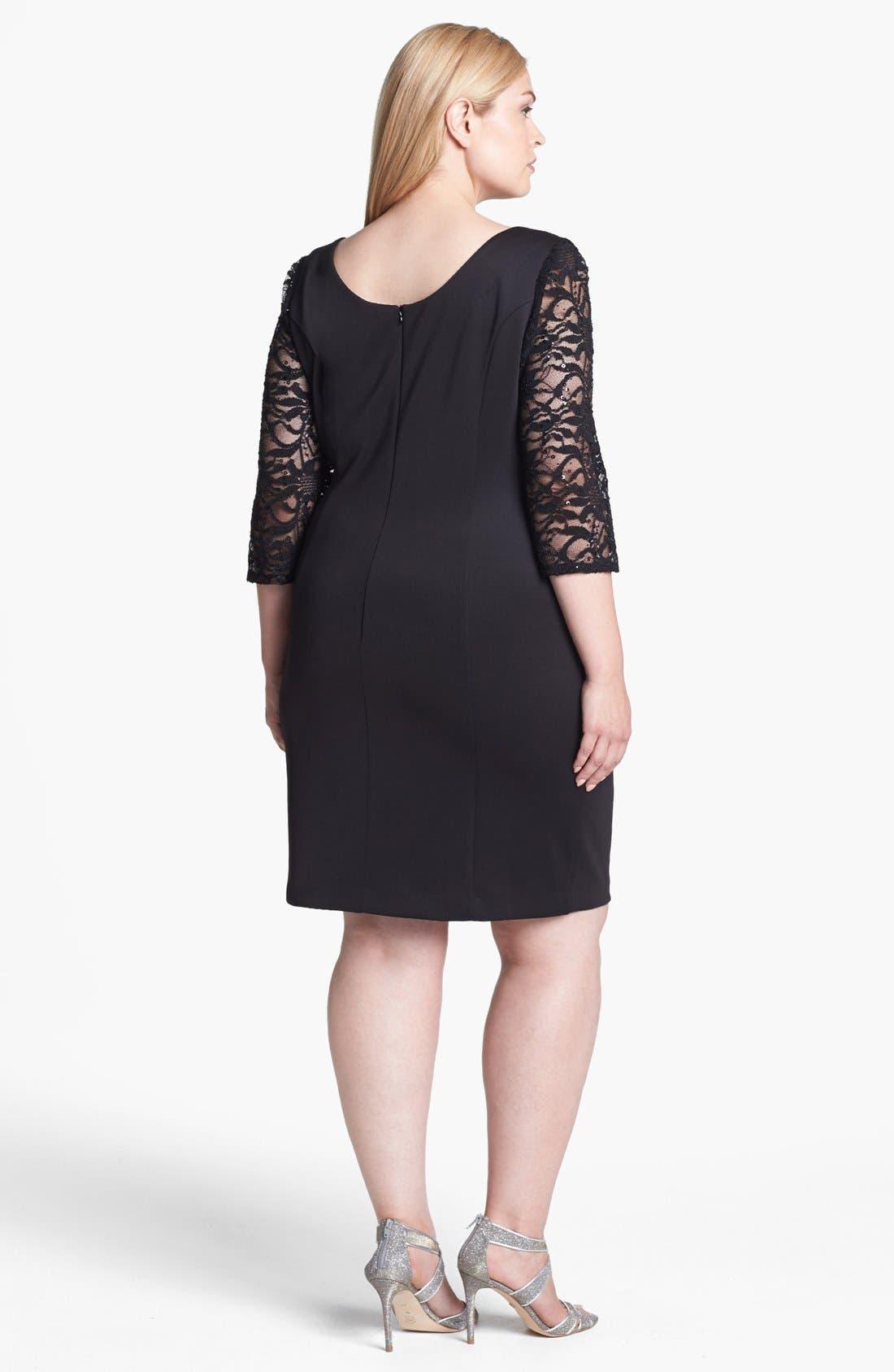 Alternate Image 2  - Alex Evenings Embellished Lace Panel Sheath Dress (Plus Size)