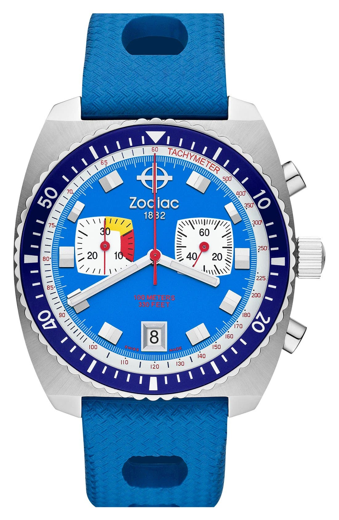 Alternate Image 1 Selected - Zodiac 'Sea Dragon' Chronograph Rubber Strap Watch, 42mm