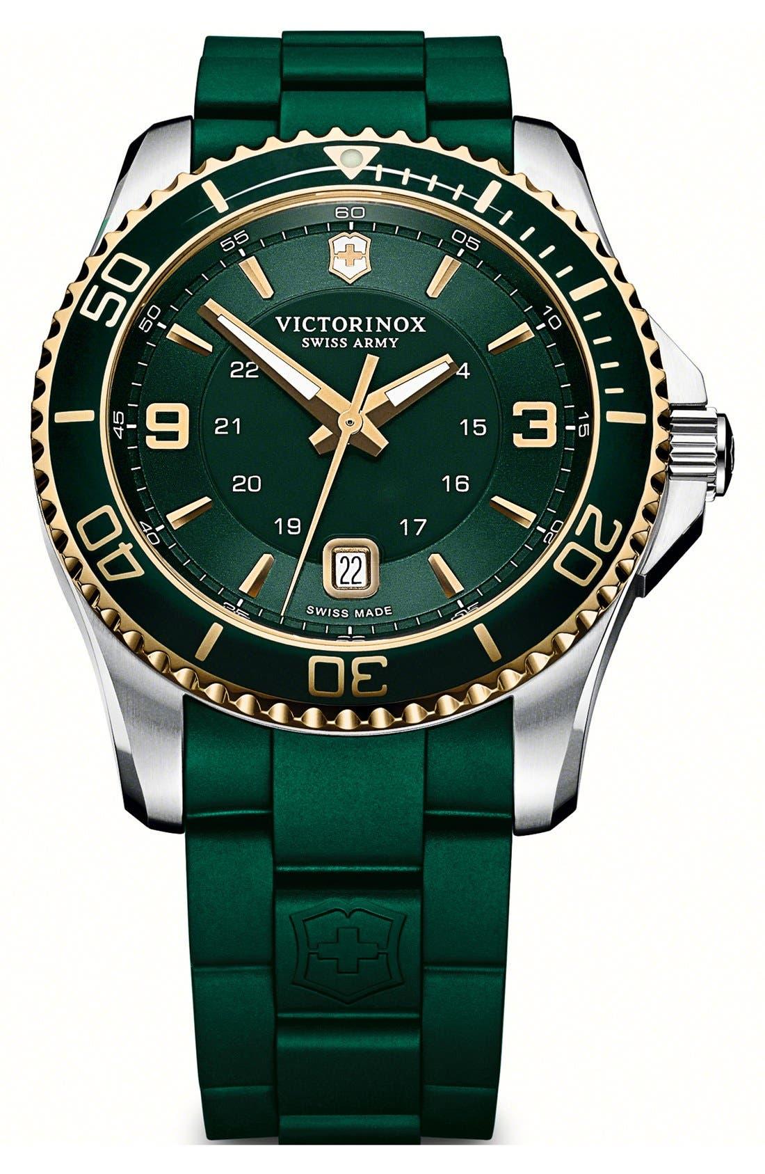 Alternate Image 1 Selected - Victorinox Swiss Army® 'Maverick GS' Rubber Strap Watch, 43mm