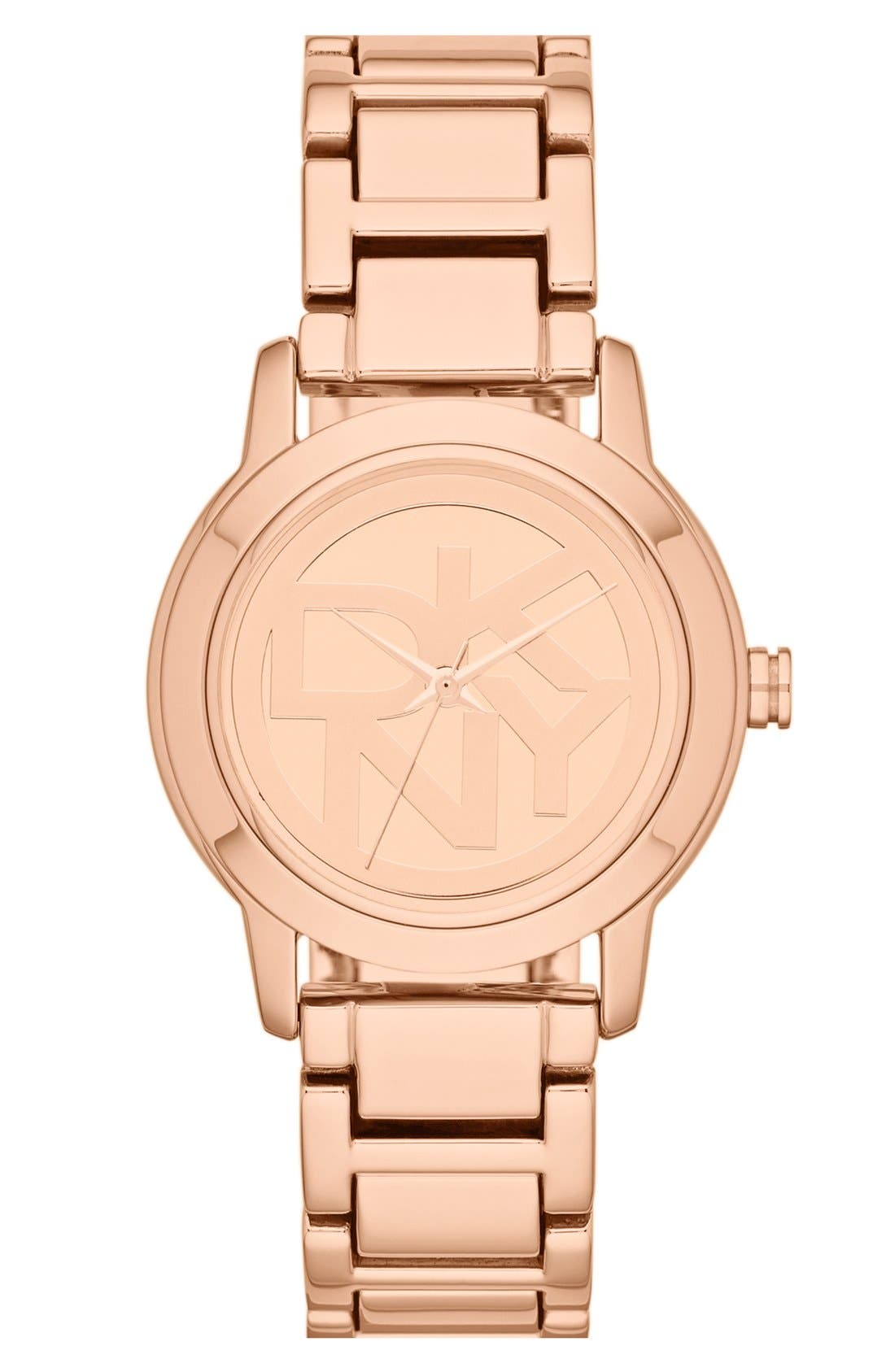 Alternate Image 1 Selected - DKNY 'Tompkins' Round Logo Dial Bracelet Watch, 32mm