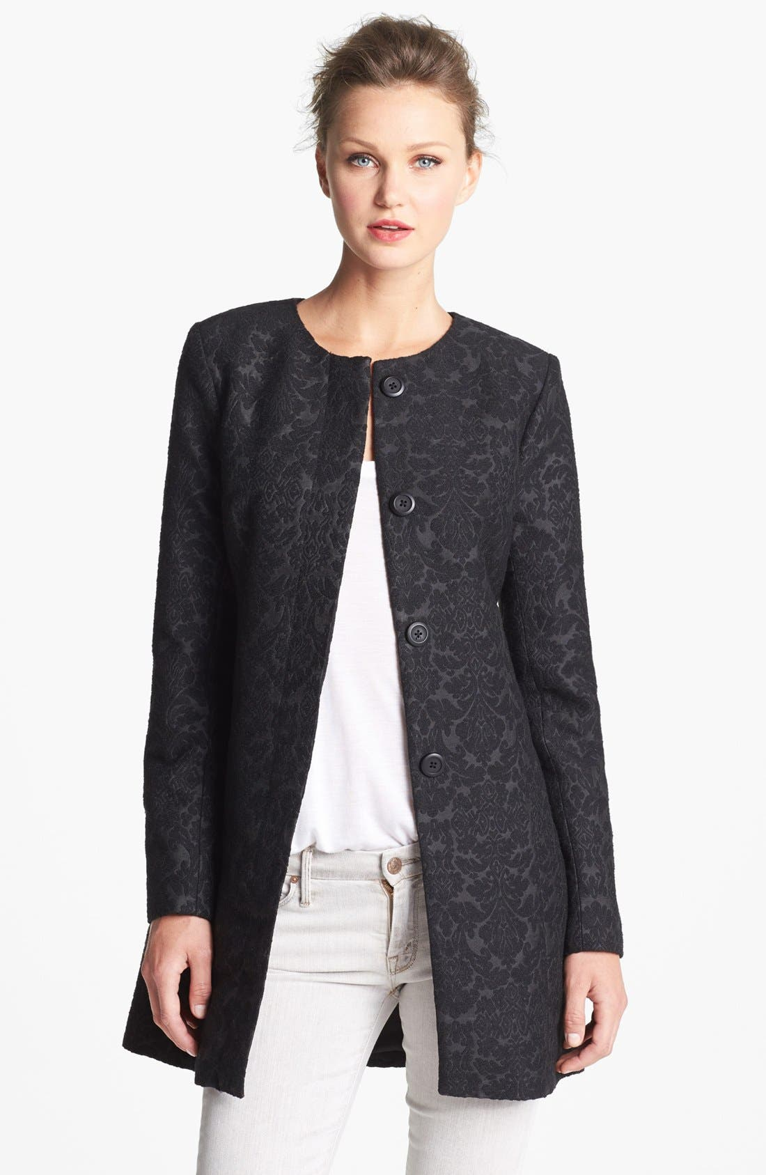 Main Image - BB Dakota Collarless Jacquard Coat