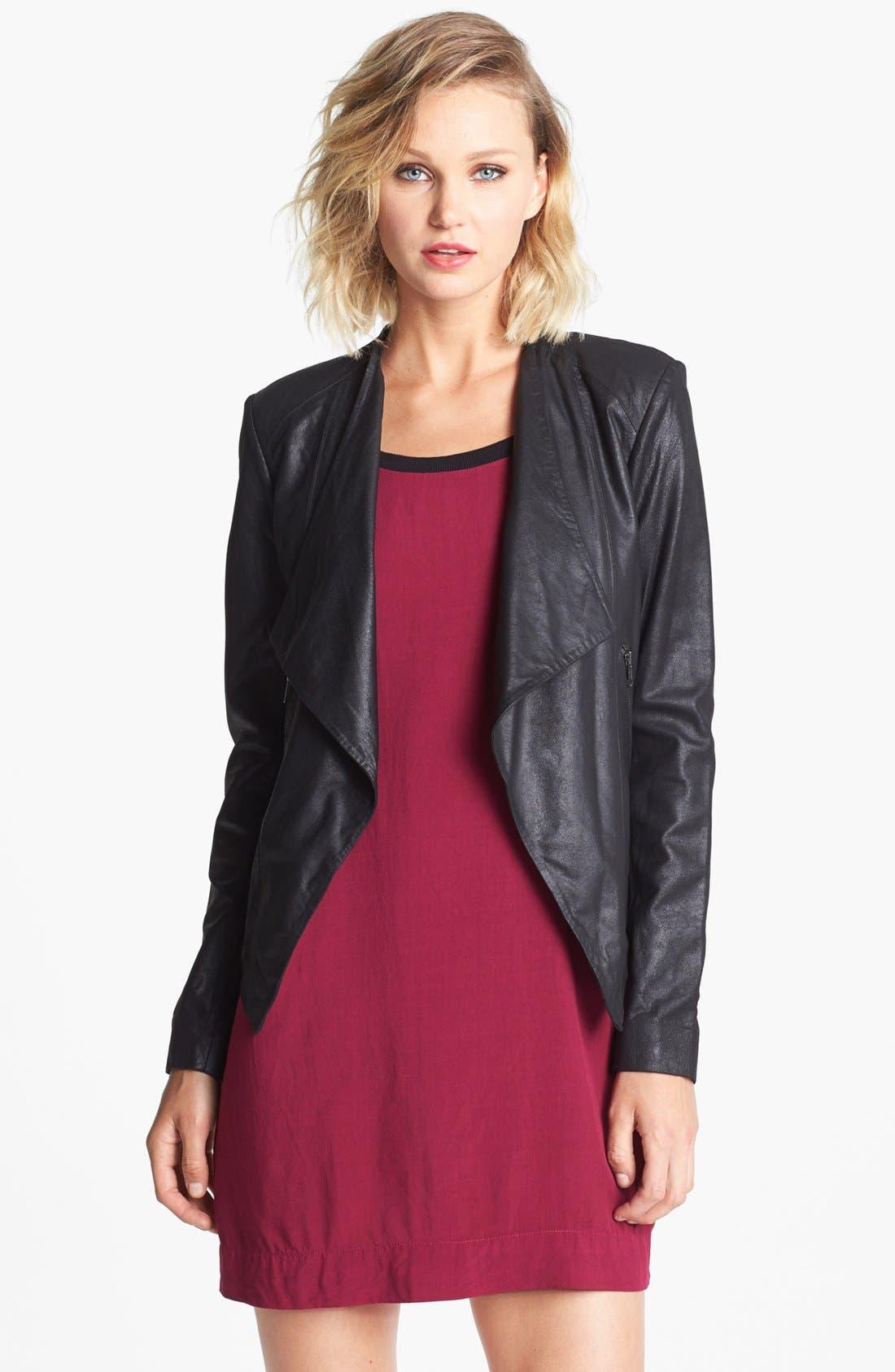Alternate Image 1 Selected - BB Dakota Drape Front Leather Jacket