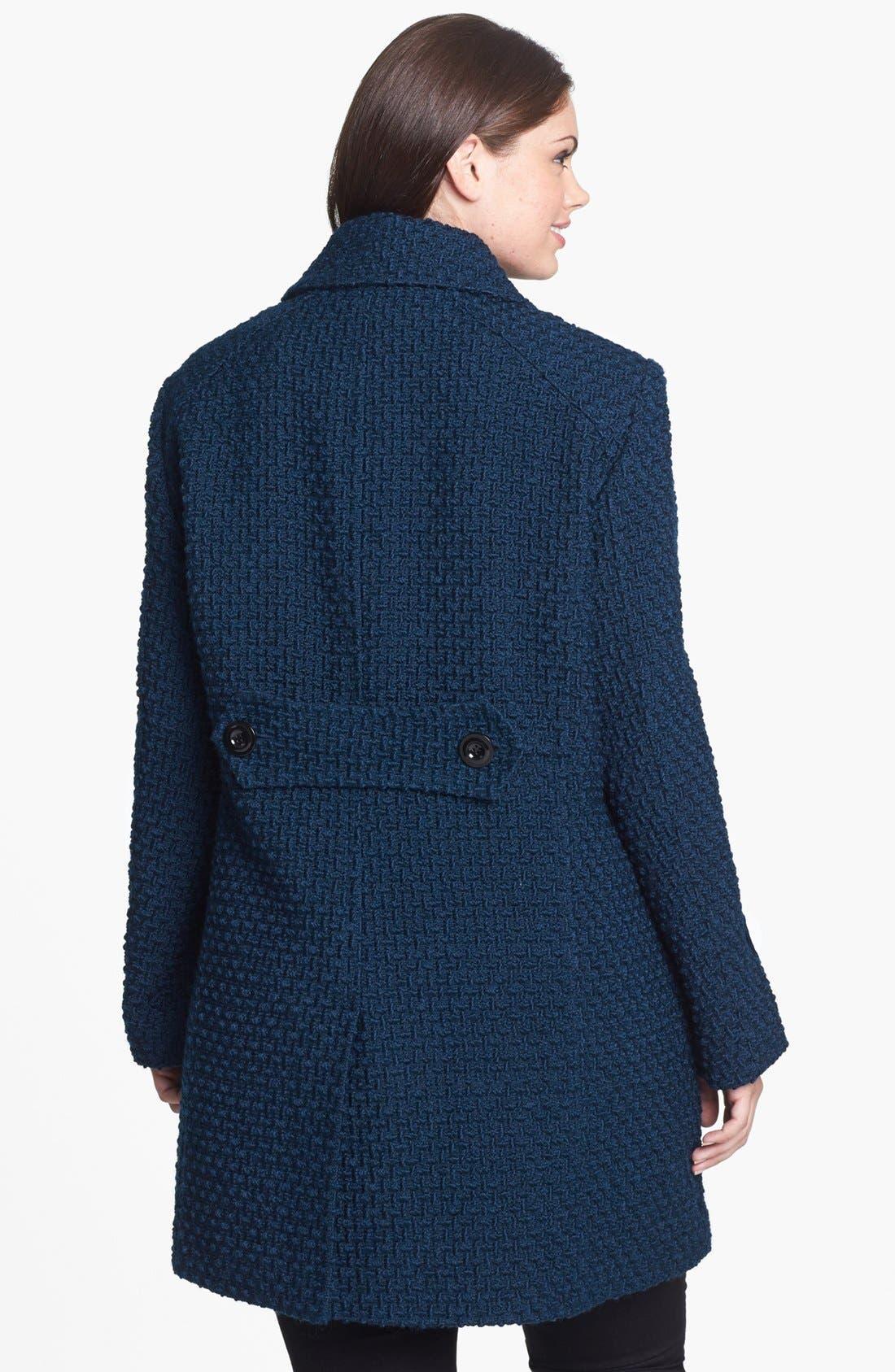 Alternate Image 2  - Gallery Basket Weave Walking Coat (Plus Size)