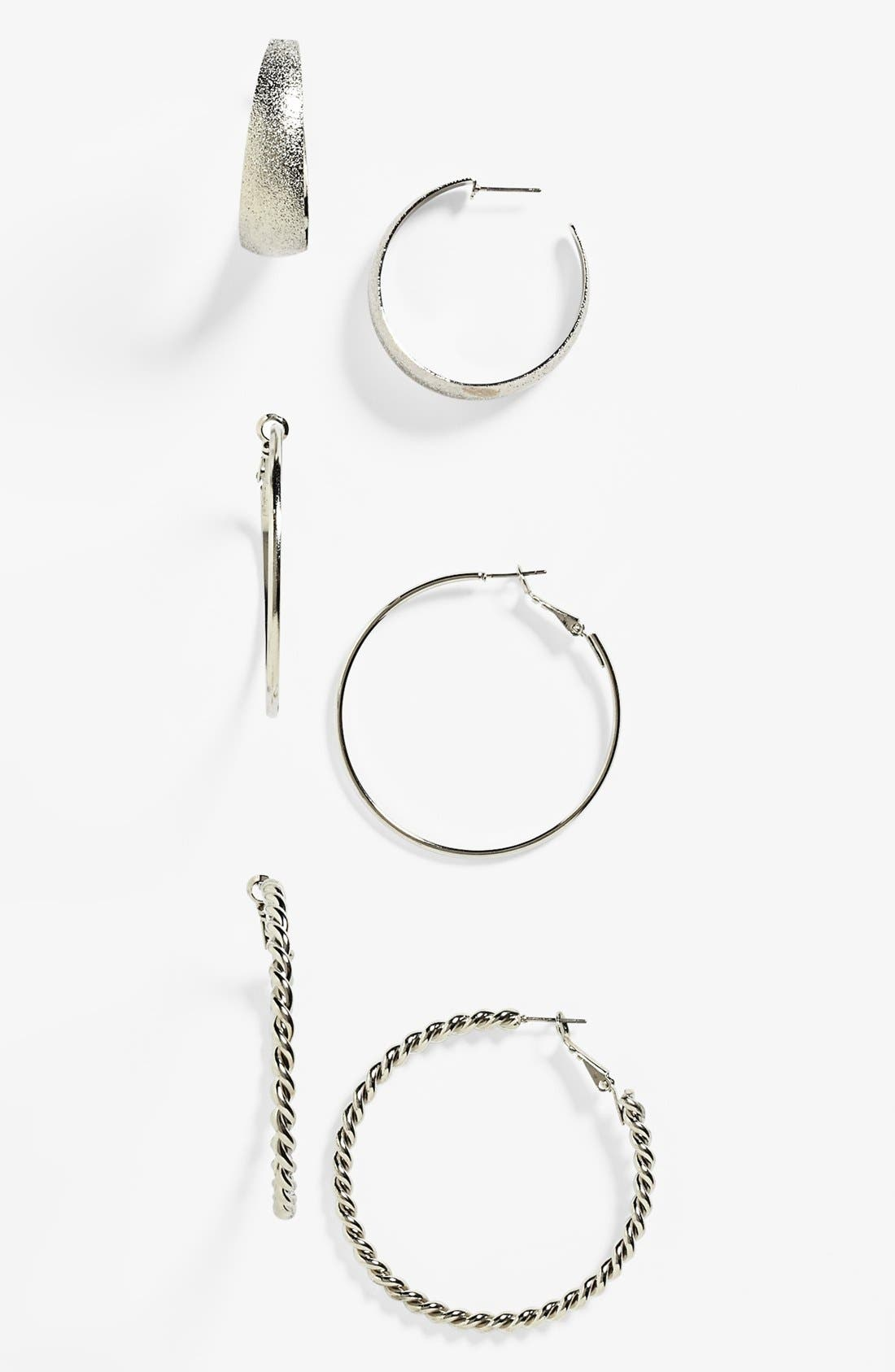Alternate Image 1 Selected - Carole Hoop Earrings (Set of 3) (Juniors)