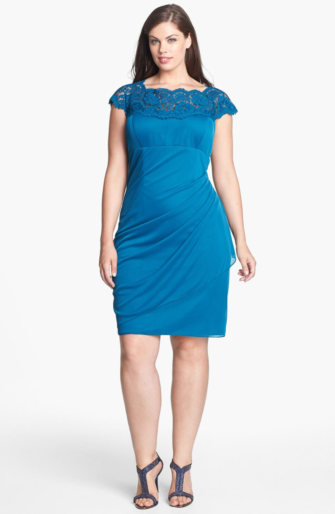 Main Image - Xscape Lace Yoke Ruched Mesh Sheath Dress (Plus Size)