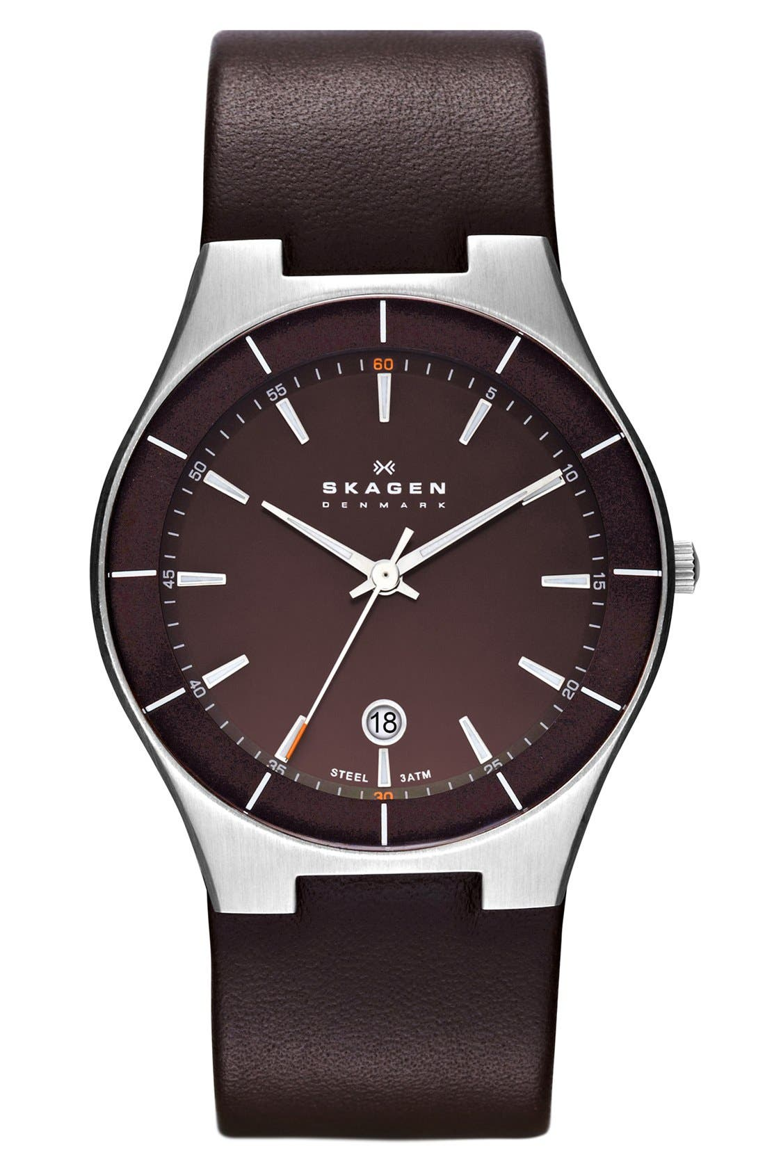 Alternate Image 1 Selected - Skagen 'Tobias' Round Leather Strap Watch, 38mm