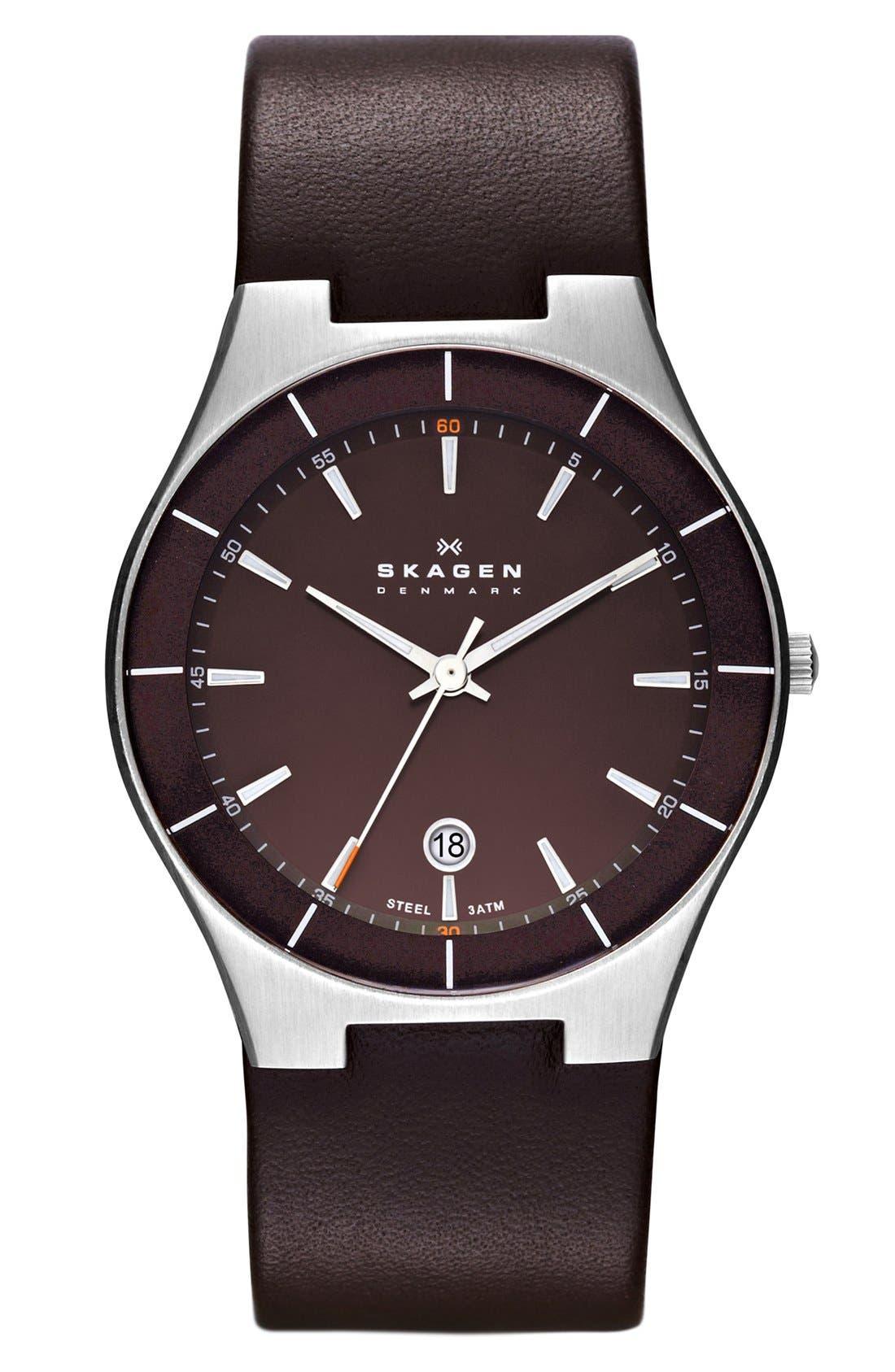 Main Image - Skagen 'Tobias' Round Leather Strap Watch, 38mm