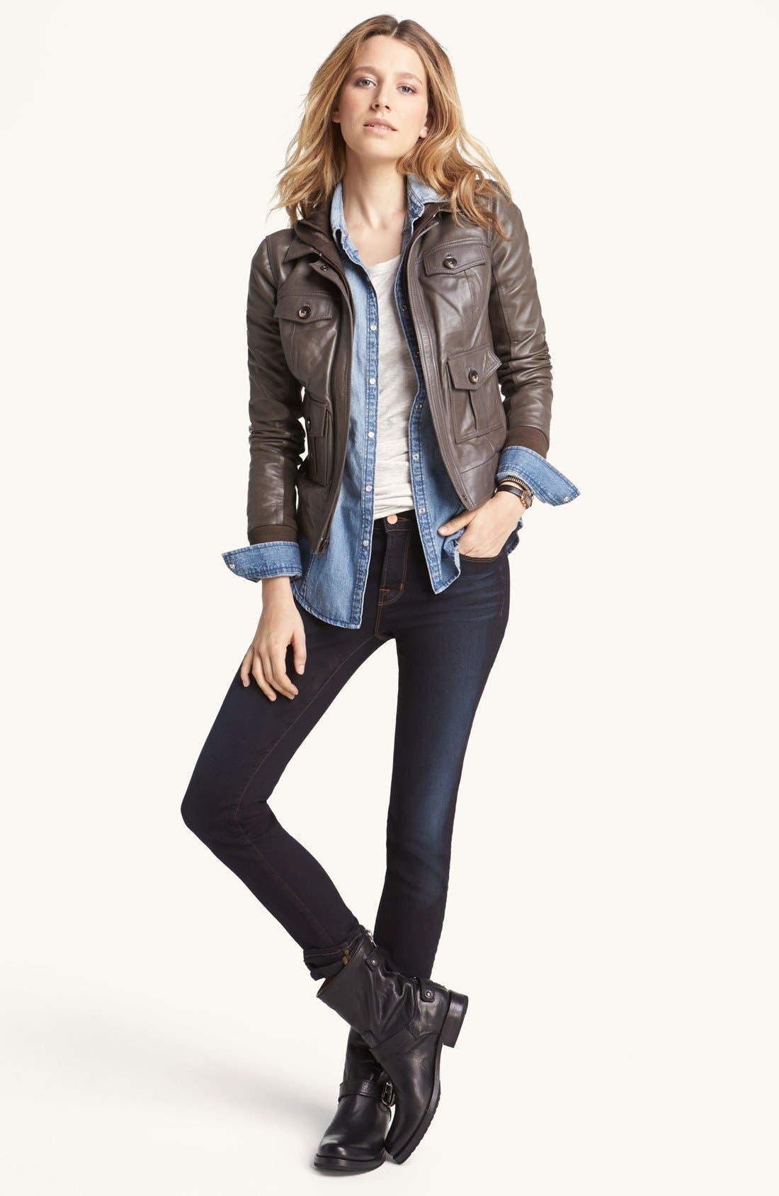 Alternate Image 2  - Halogen® Hooded Leather Jacket
