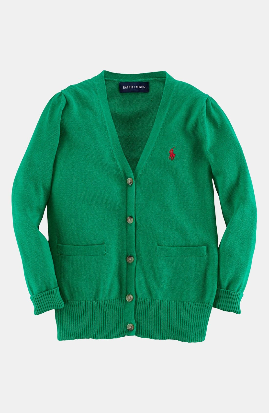 Alternate Image 1 Selected - Ralph Lauren Pima Cotton Cardigan (Toddler Girls)