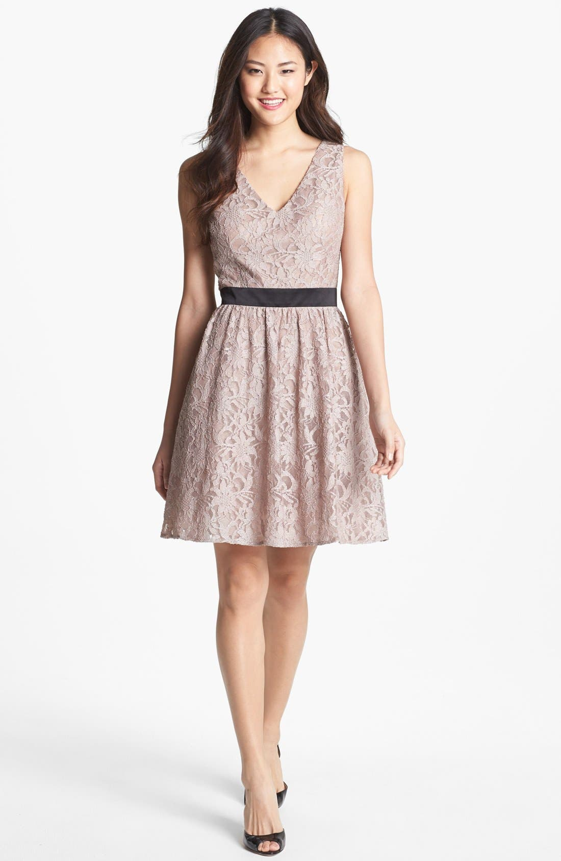 Main Image - Hailey by Adrianna Papell Lace Fit & Flare Dress (Online Only)