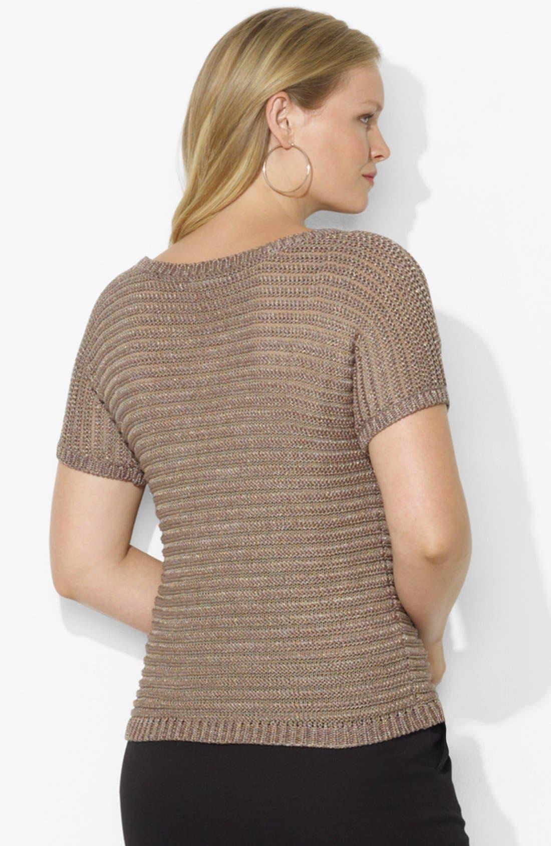 Alternate Image 2  - Lauren Ralph Lauren Metallic Sweater (Plus Size)