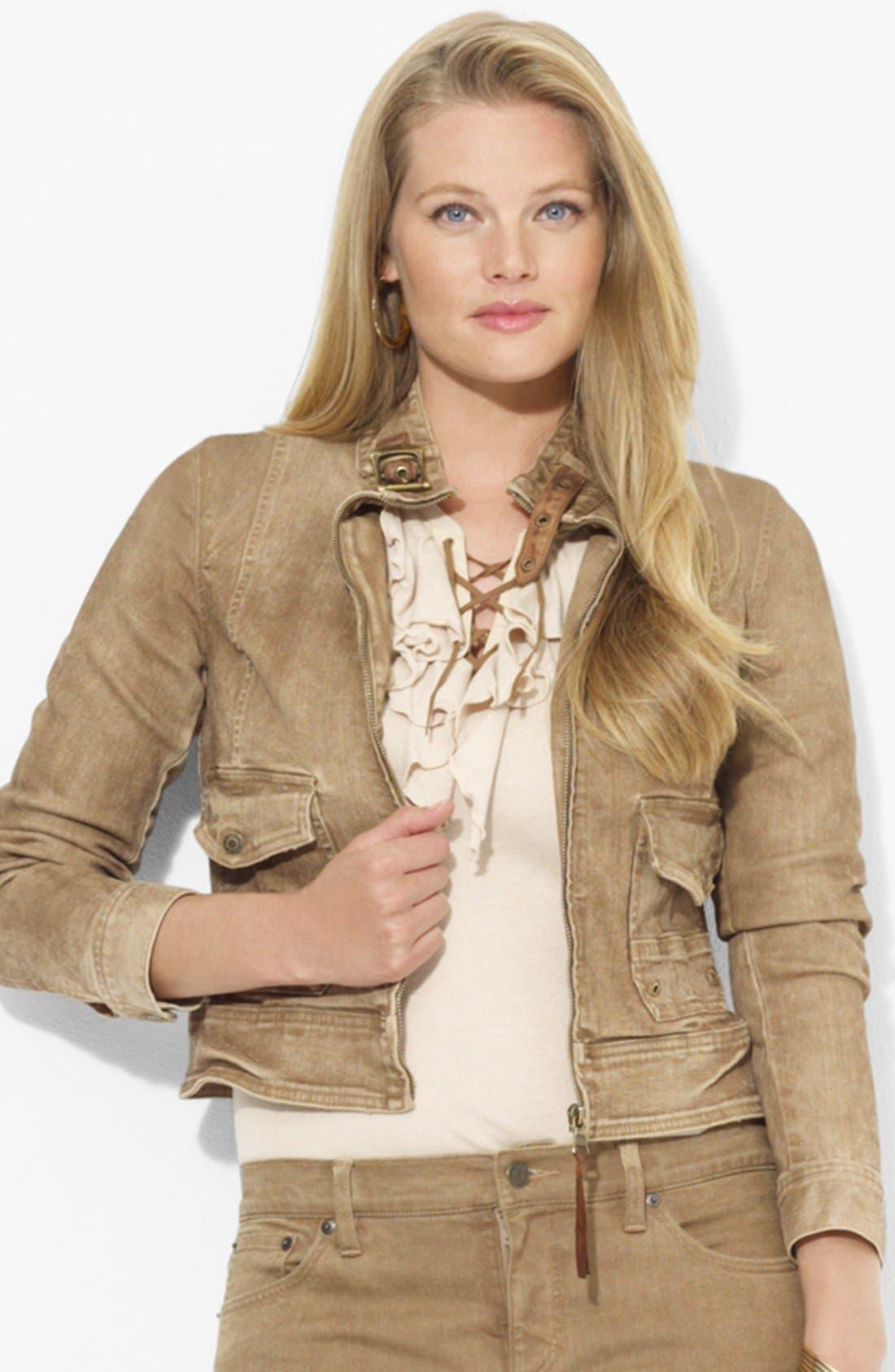 Alternate Image 1 Selected - Lauren Ralph Lauren Leather Trim Denim Jacket (Plus Size)