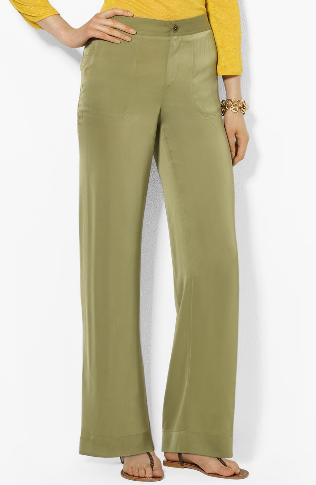 Alternate Image 1 Selected - Lauren Ralph Lauren Wide Leg Pants (Petite)