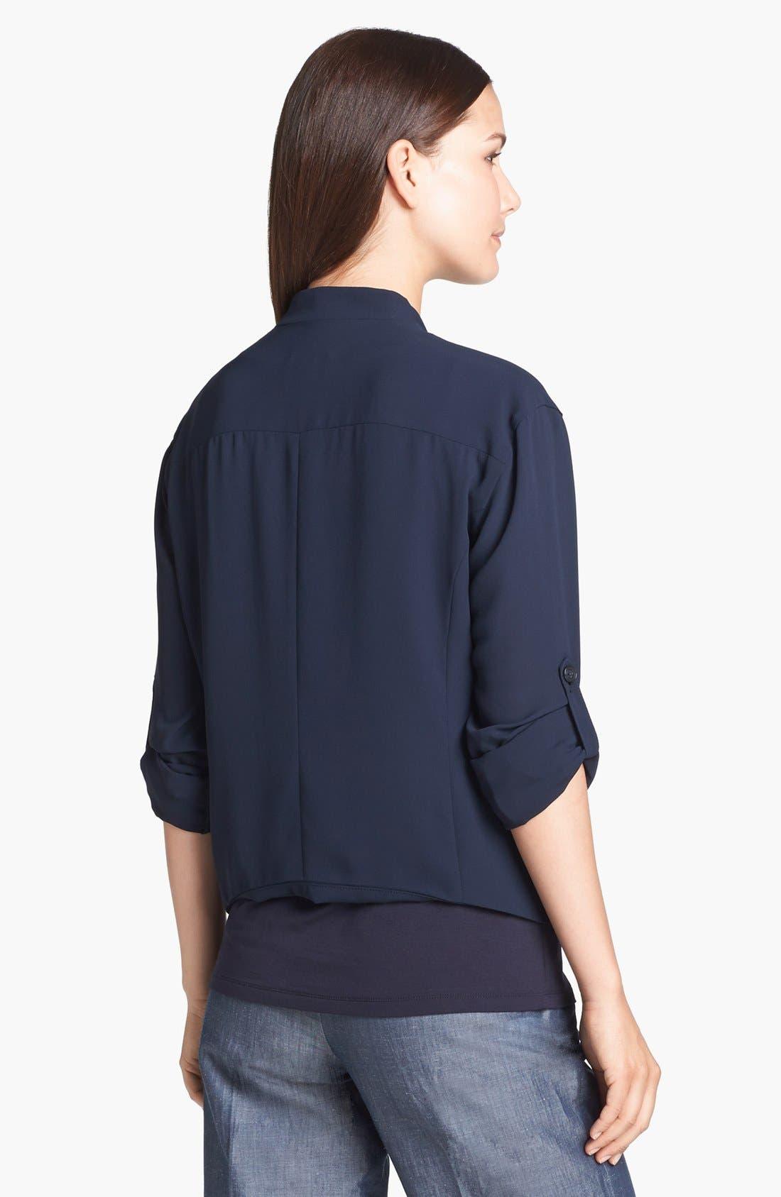 Alternate Image 2  - Adrianna Papell Roll Sleeve Soft Washed Crepe Jacket