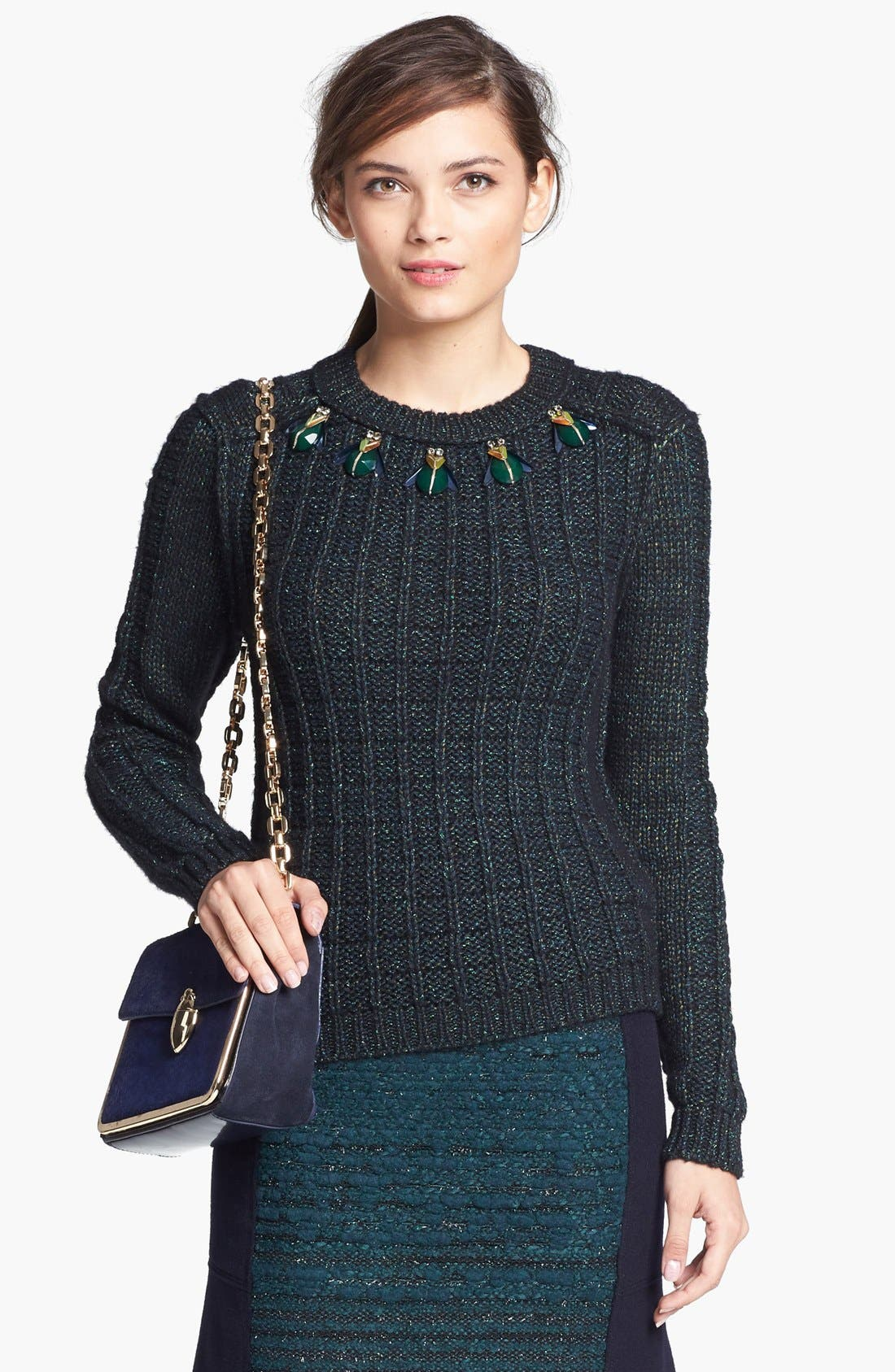 Main Image - Tory Burch 'Lucy' Embellished Sweater