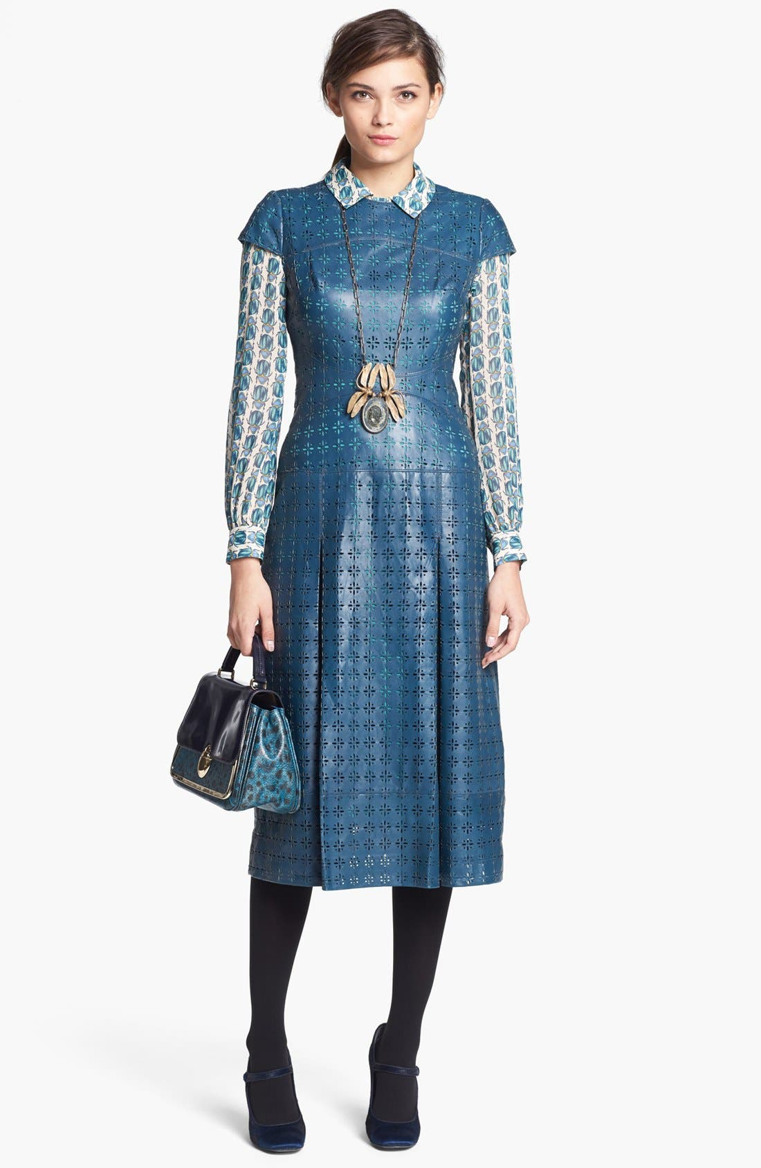 Alternate Image 1 Selected - Tory Burch 'Collins' Leather Midi Dress