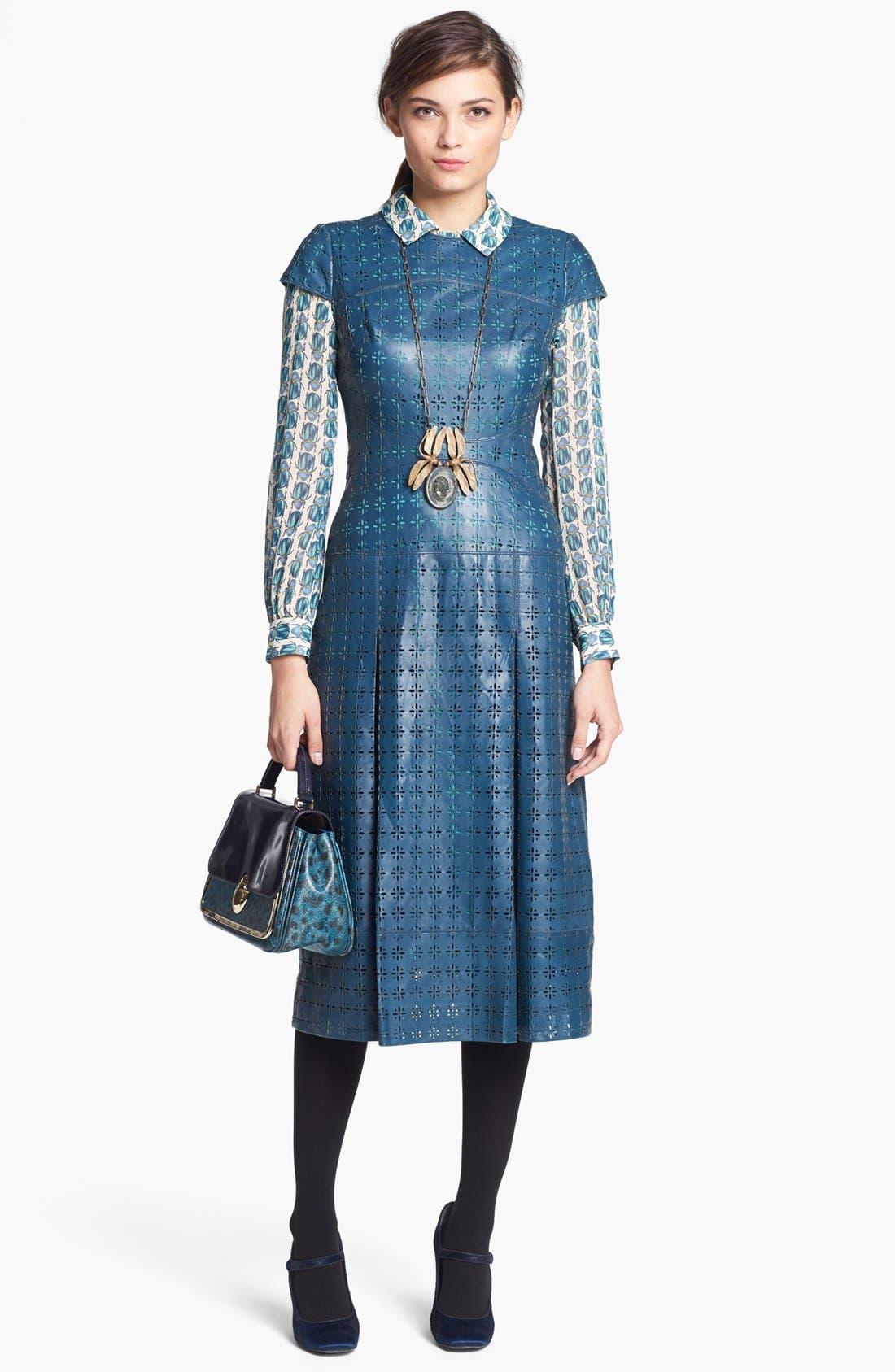 Main Image - Tory Burch 'Collins' Leather Midi Dress