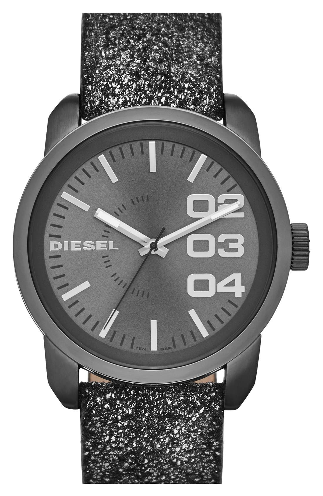 Main Image - DIESEL® 'Franchise' Metallic Leather Strap Watch, 46mm