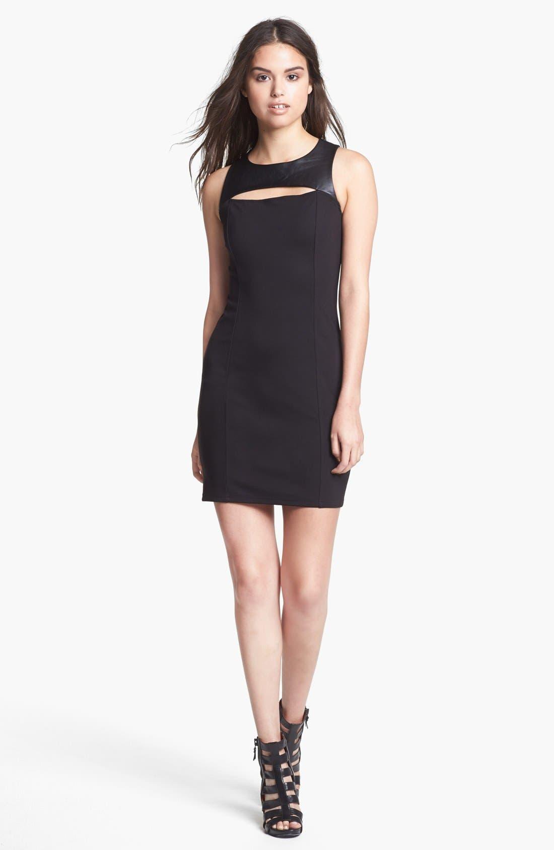 Alternate Image 1 Selected - BB Dakota 'Mai' Faux Leather Yoke Ponte Sheath Dress