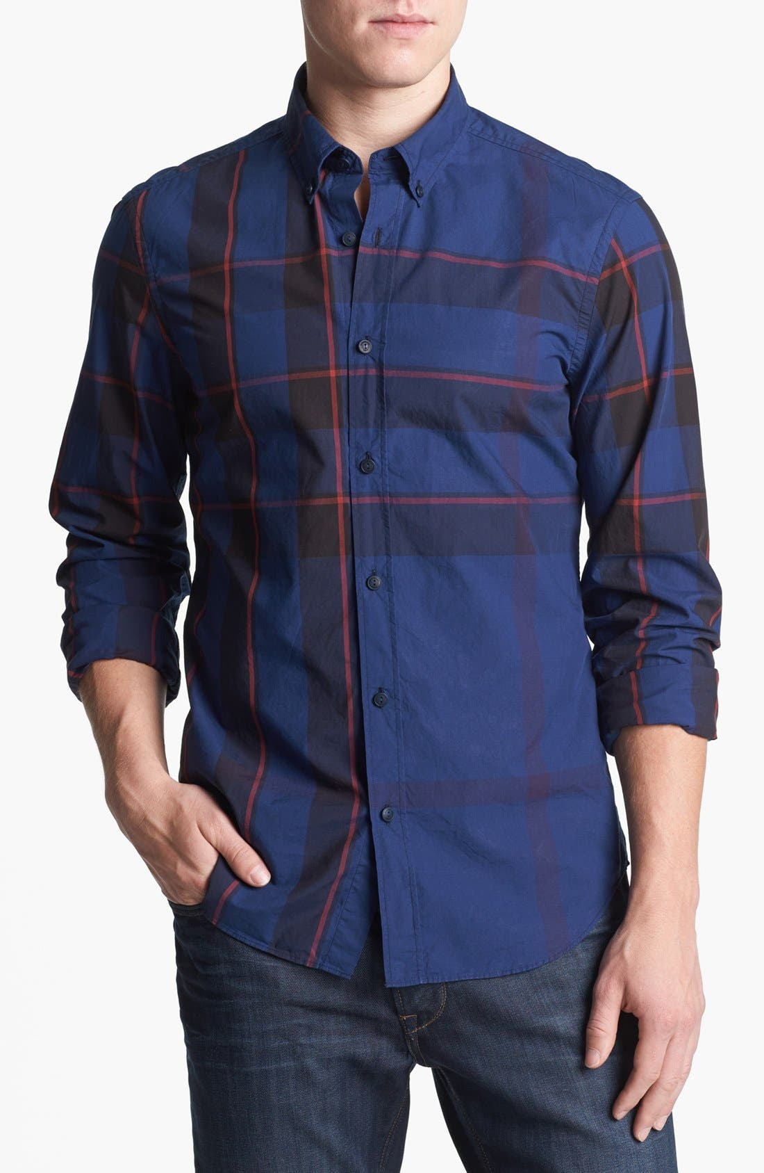 Main Image - Burberry Brit 'Fred' Check Trim Fit Cotton Sport Shirt