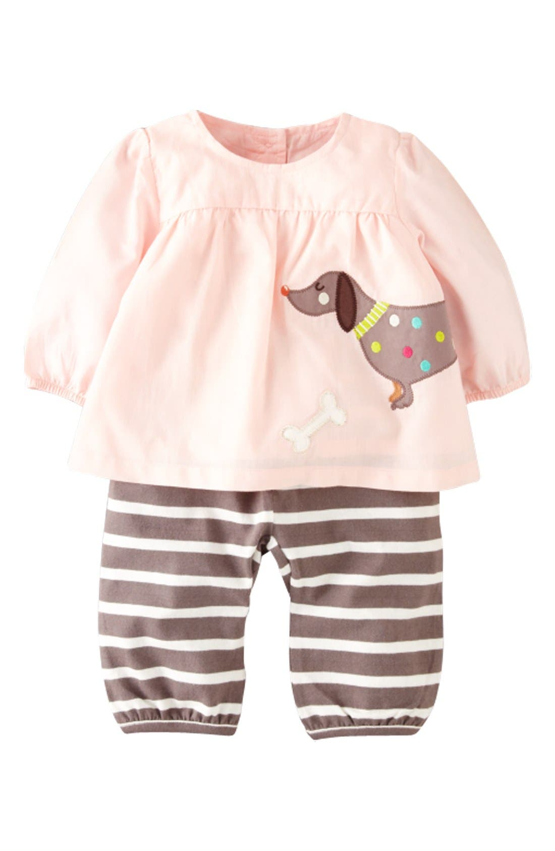 Alternate Image 1 Selected - Mini Boden Appliqué Tunic & Pants (Baby Girls)