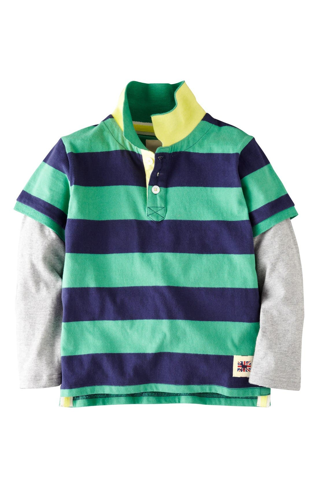 Main Image - Mini Boden Layered Sleeve Polo (Toddler Boys, Little Boys & Big Boys)
