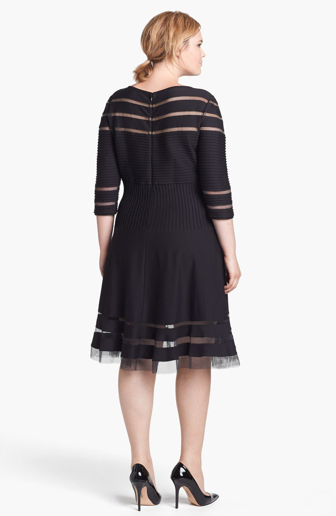 Alternate Image 2  - Tadashi Shoji Mesh Stripe Fit & Flare Dress (Plus Size)